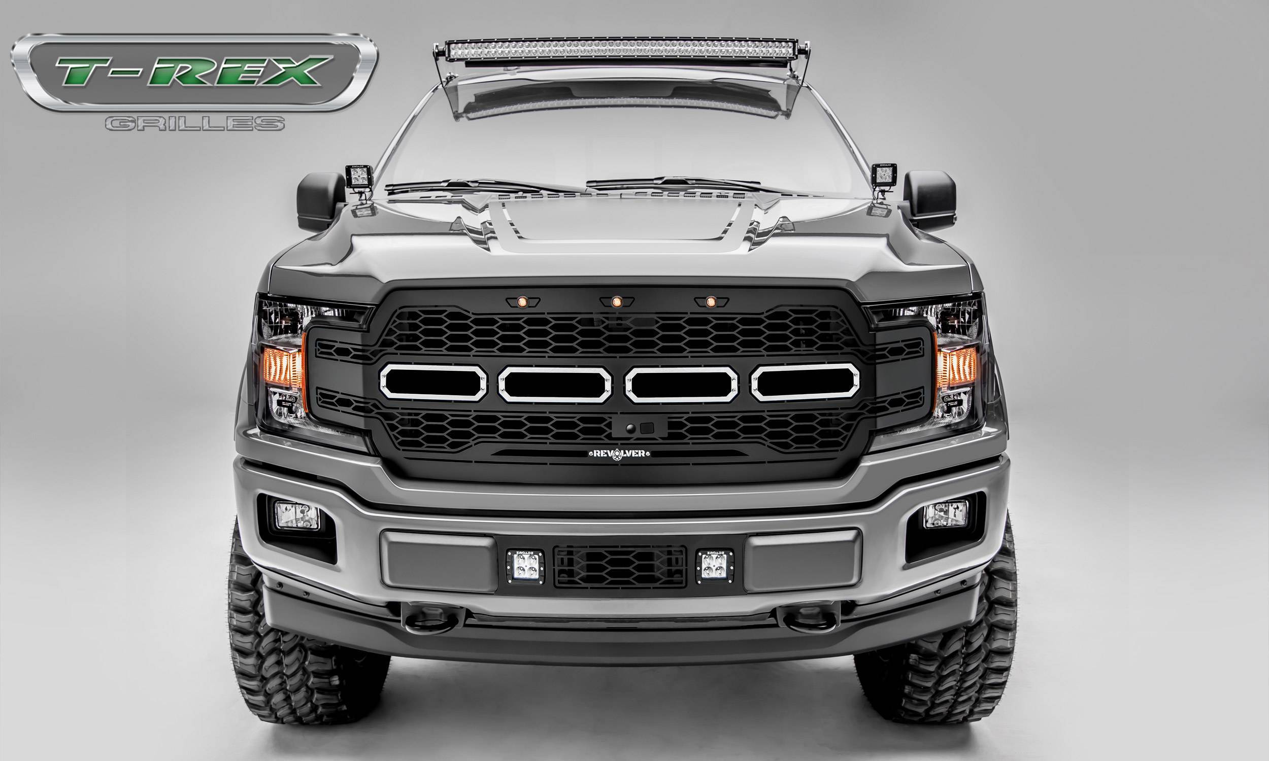 T-REX Grilles - 2018-2020 F-150 Revolver Grille, Black, 1 Pc, Replacement, Fits Vehicles with Camera - PN #6515781