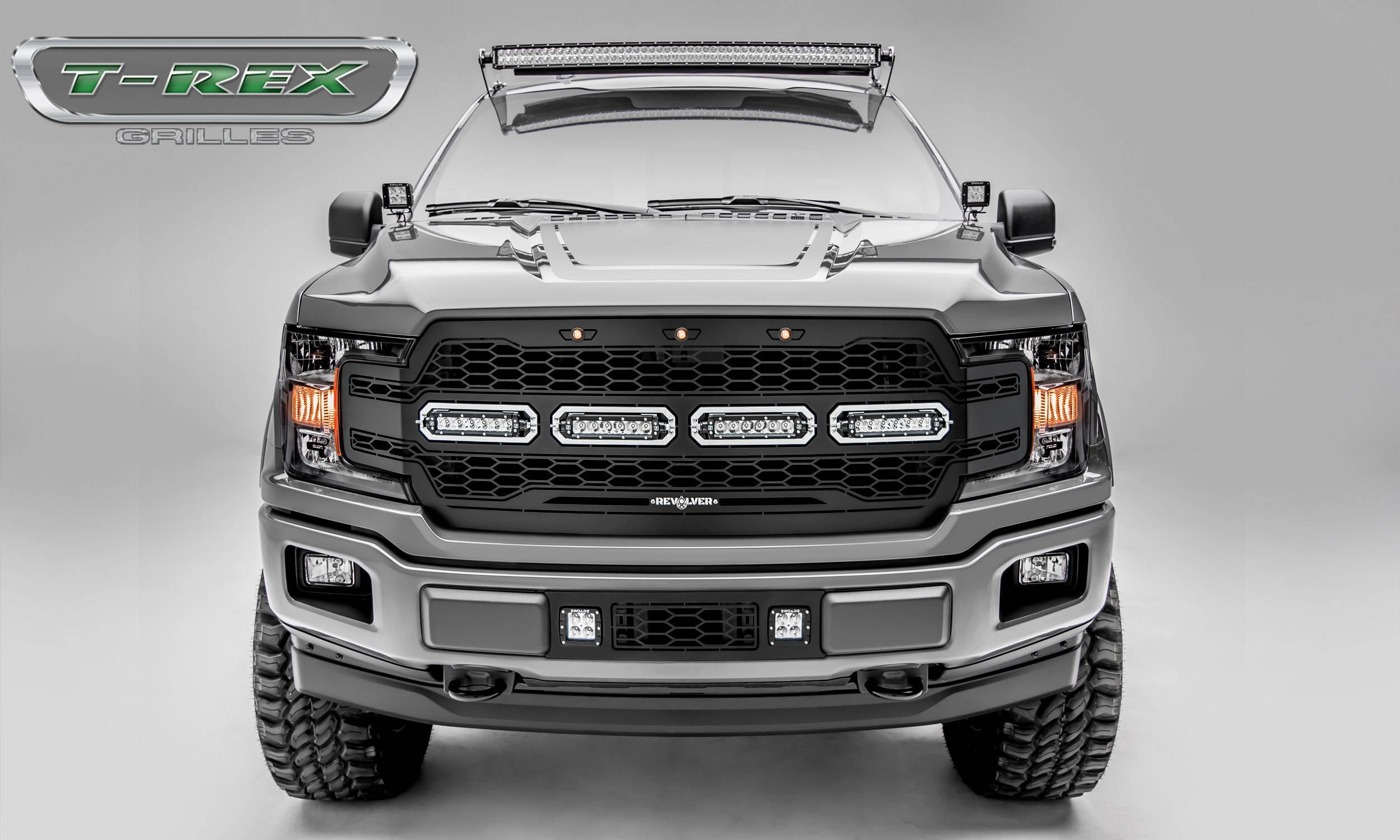 T-REX Grilles - 2018-2020 F-150 Revolver Grille, Black, 1 Pc, Replacement with (4) 6 Inch LEDs, Does Not Fit Vehicles with Camera - PN #6515841
