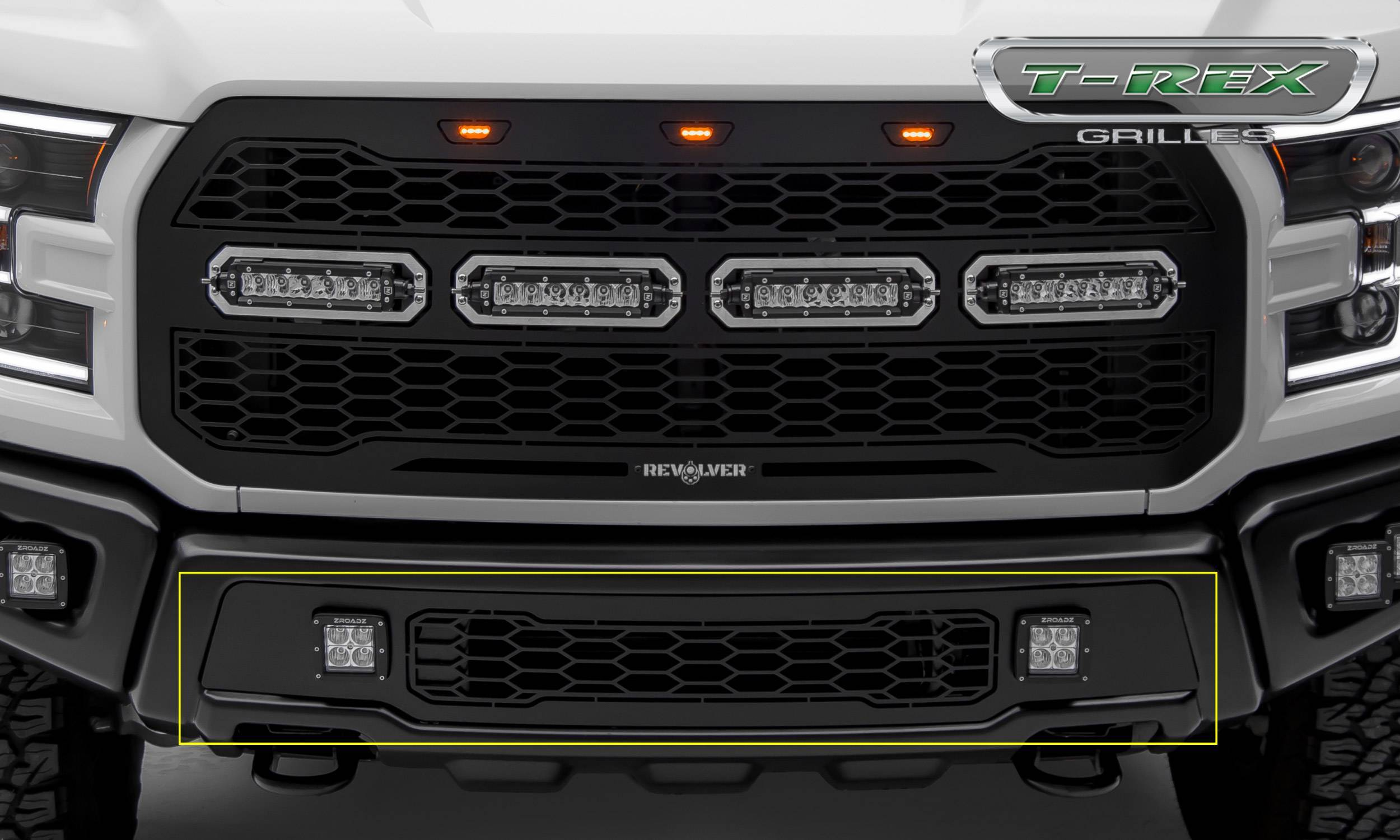 T-REX Grilles - 2017-2020 F-150 Raptor SVT Revolver Bumper Grille, Black, 1 Pc, Replacement with (2) 3 Inch LED Cube Lights - PN #6525661