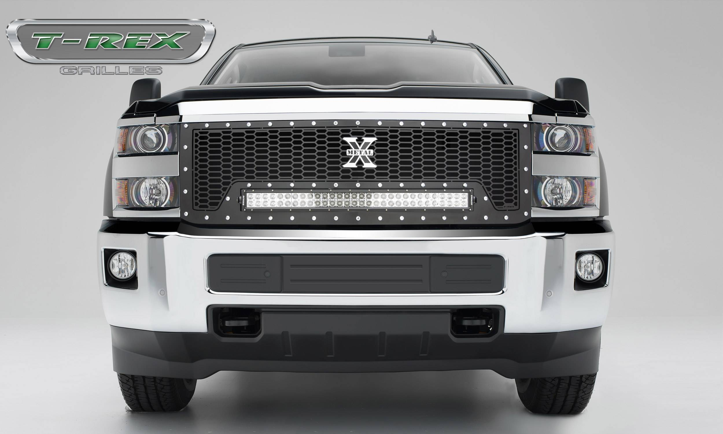 "T-REX Grilles - 2015-2019 Silverado HD Laser Torch Grille, Black, 1 Pc, Replacement, Chrome Studs with (1) 30"" LED - PN #7311241"