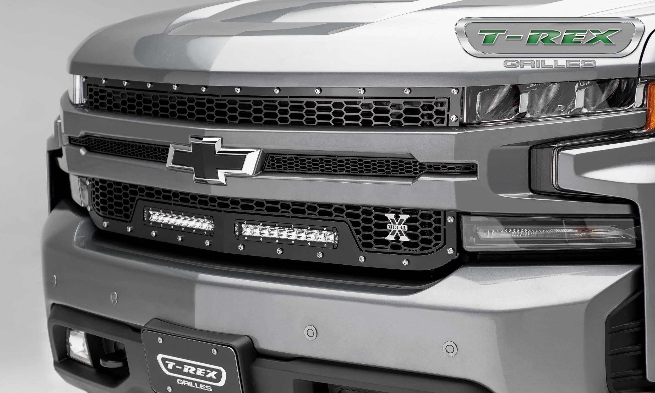T-REX Grilles - 2019-2021 Silverado 1500 Laser Torch Grille, Black, 1 Pc, Replacement, Chrome Studs with (2) 10 Inch LEDs, Does Not Fit Vehicles with Camera - PN #7311261