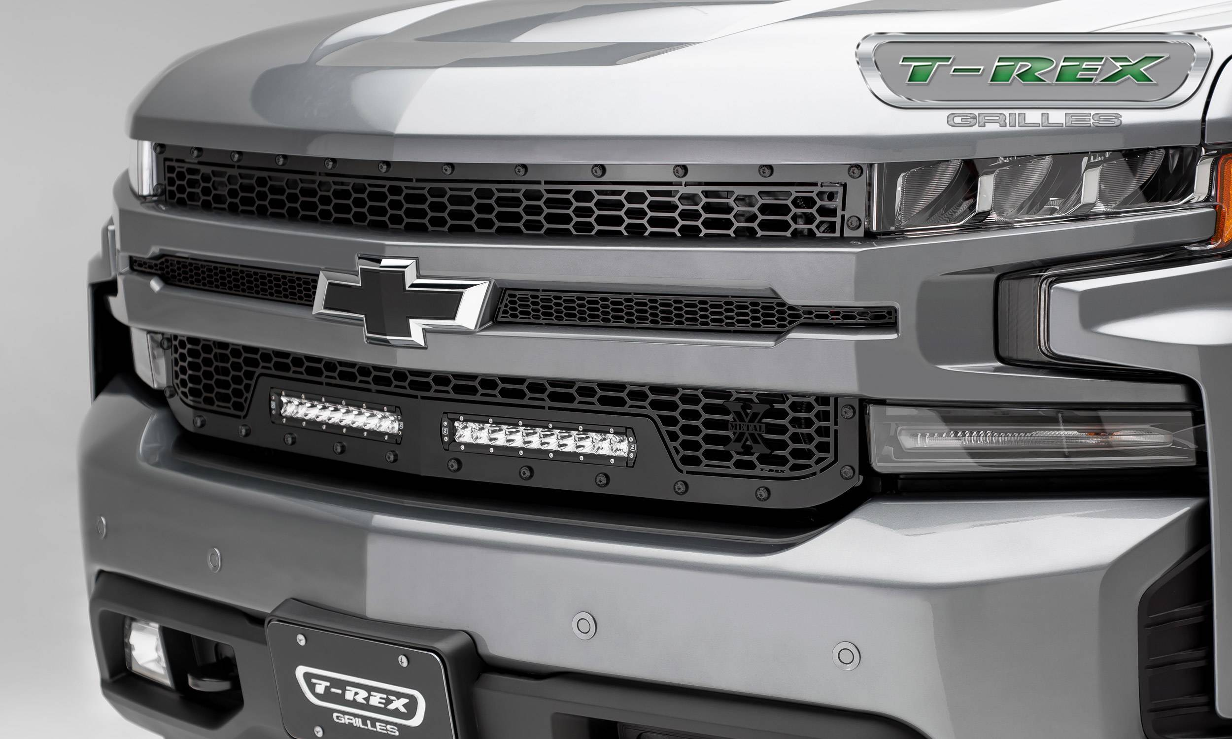 T-REX Grilles - 2019-2021 Silverado 1500 Stealth Laser Torch Grille, Black, 1 Pc, Replacement, Black Studs with (2) 10 Inch LEDs, Does Not Fit Vehicles with Camera - PN #7311261-BR