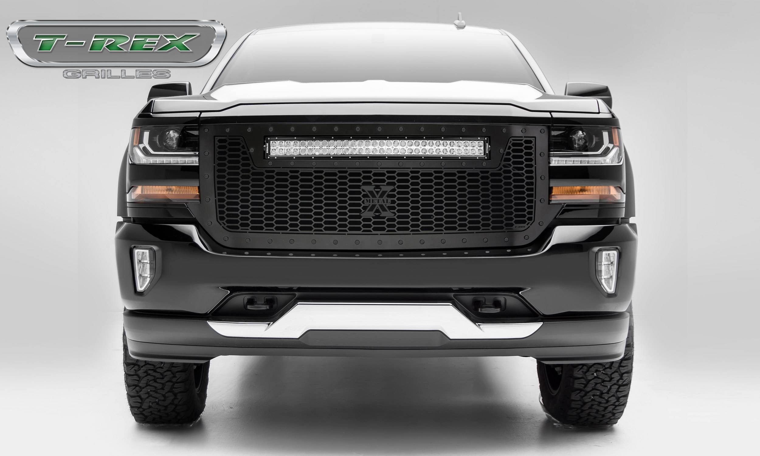 """T-REX Grilles - 2016-2018 Silverado 1500 Stealth Laser Torch Grille, Black, 1 Pc, Replacement, Black Studs with (1) 30"""" LED - PN #7311281-BR"""
