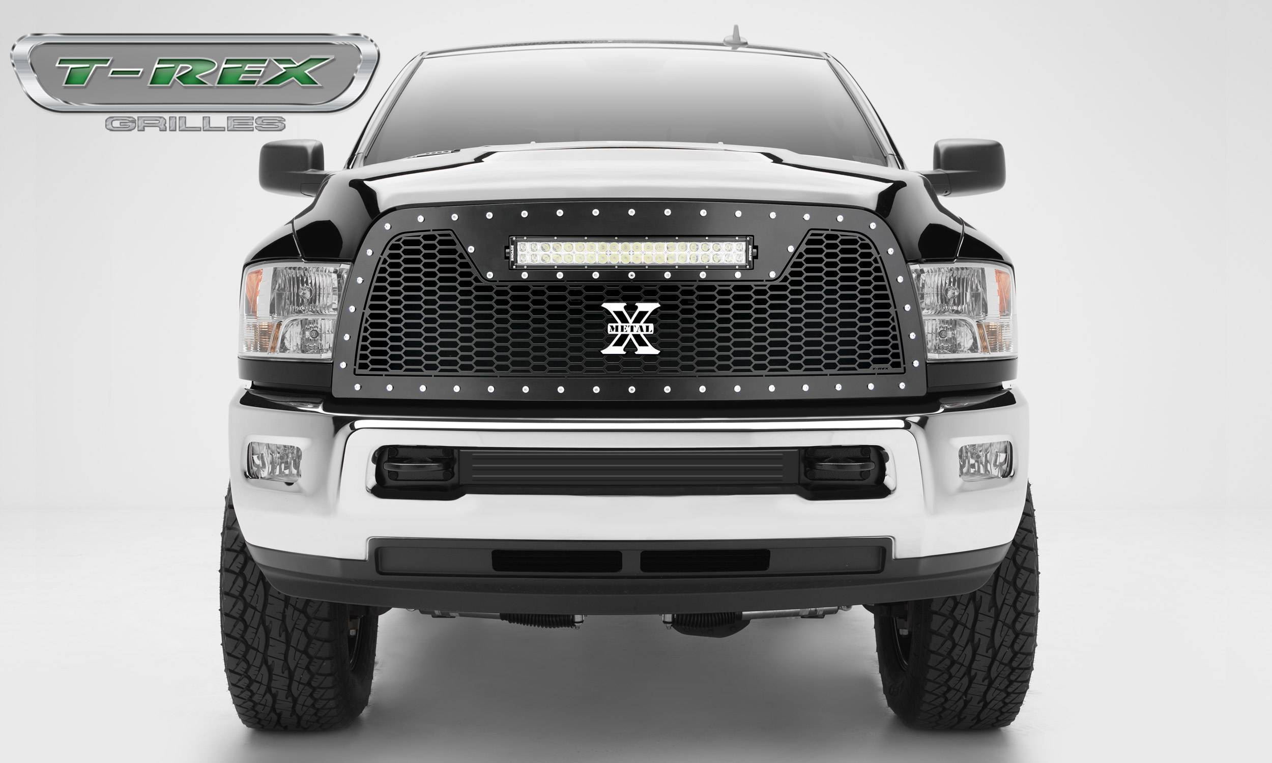 """T-REX Grilles - 2013-2018 Ram 2500, 3500 Laser Torch Grille, Black, 1 Pc, Replacement, Chrome Studs with (1) 20"""" LED - PN #7314521"""