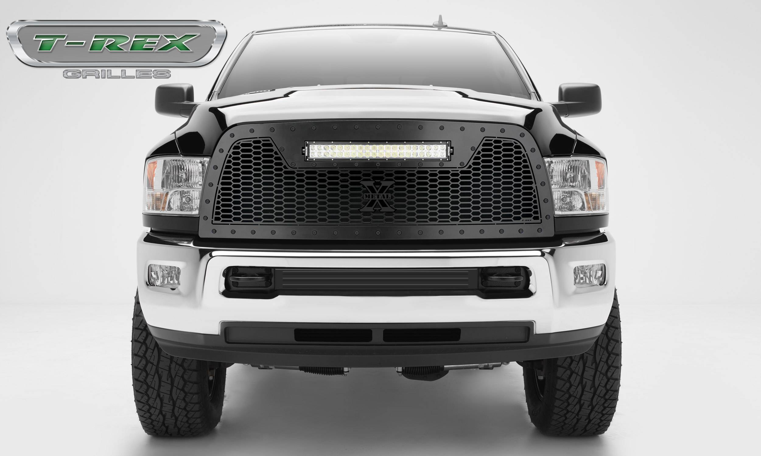 "T-REX Grilles - 2013-2018 Ram 2500, 3500 Stealth Laser Torch Grille, Black, 1 Pc, Replacement, Black Studs with (1) 20"" LED - PN #7314521-BR"
