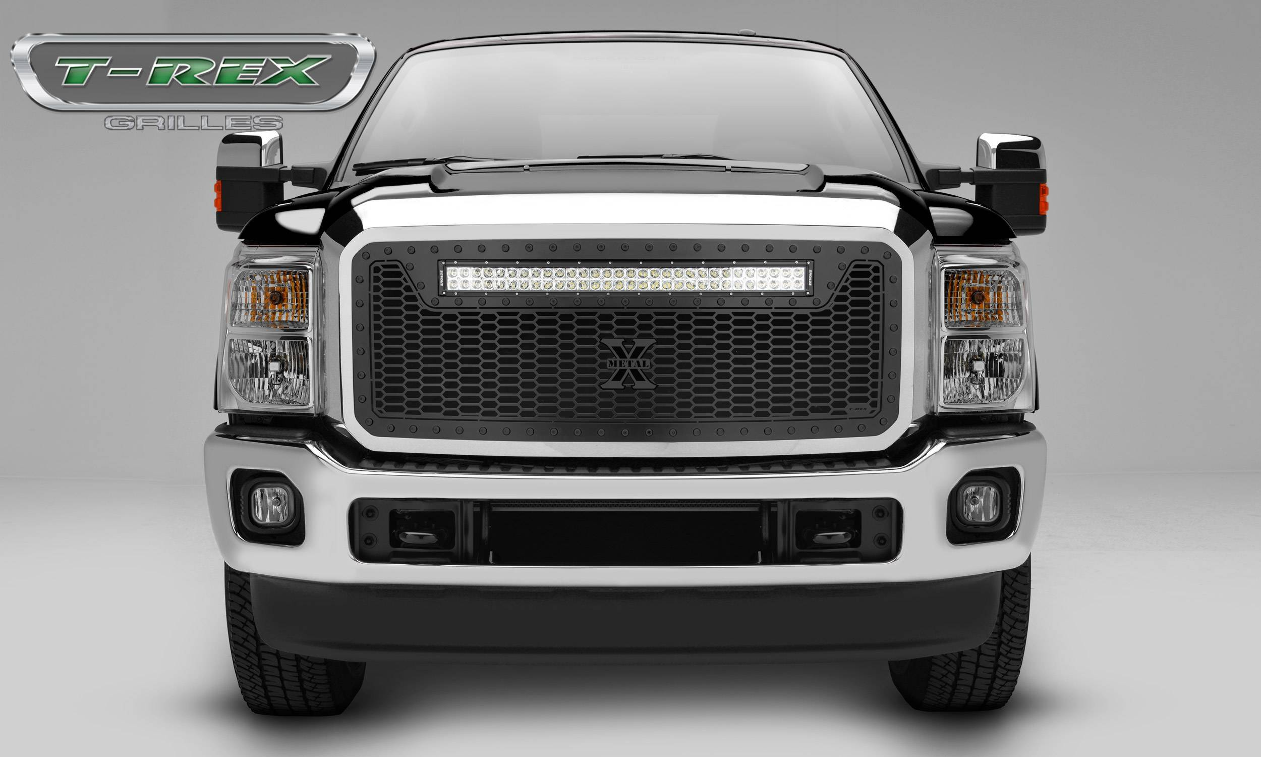 "T-REX Grilles - 2011-2016 Super Duty Stealth Laser Torch Grille, Black, 1 Pc, Insert, Black Studs with (1) 30"" LED - PN #7315461-BR"