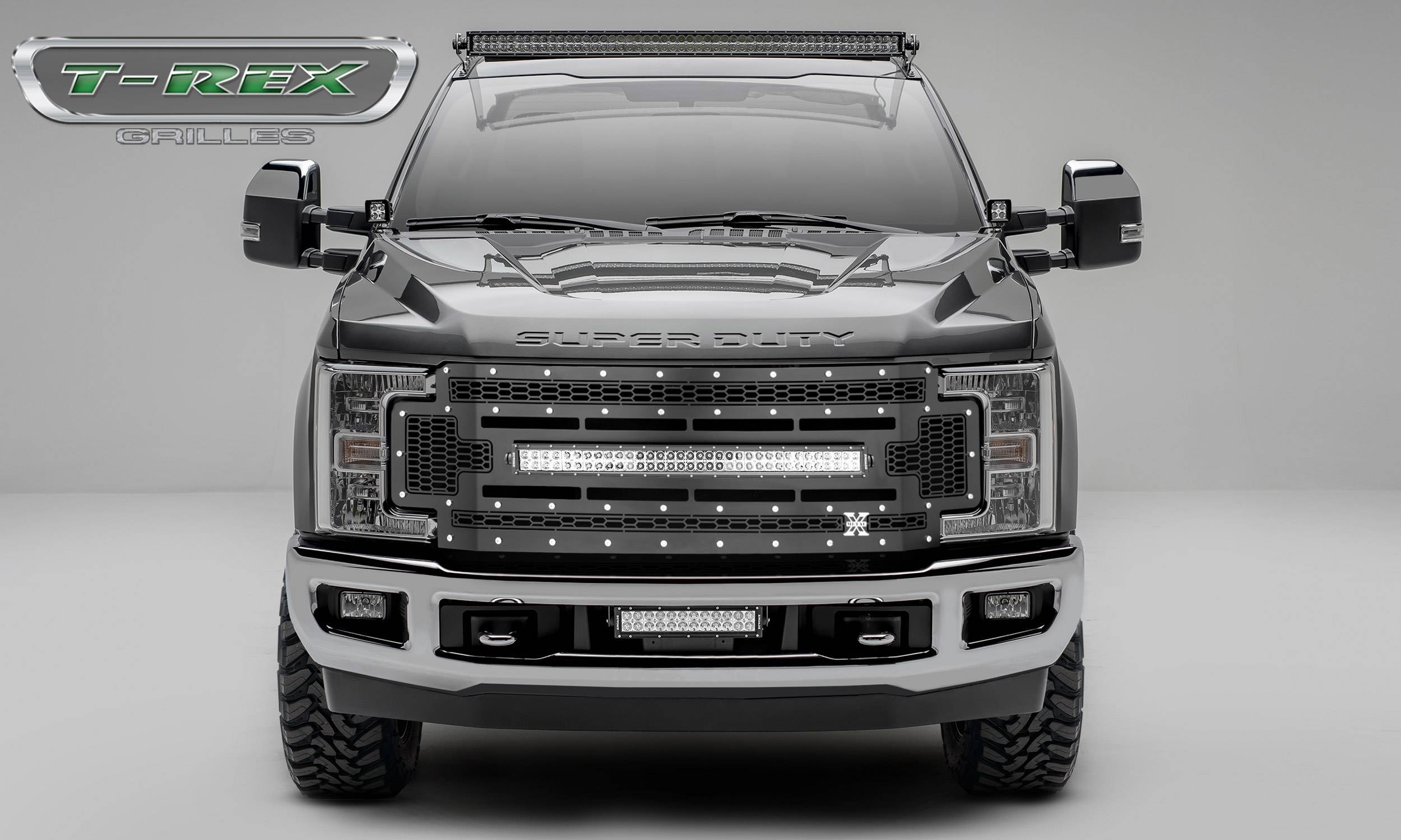 """T-REX Grilles - 2017-2019 Super Duty Laser Torch Grille, Black, 1 Pc, Replacement, Chrome Studs with (1) 30"""" LED, Does Not Fit Vehicles with Camera - PN #7315471"""