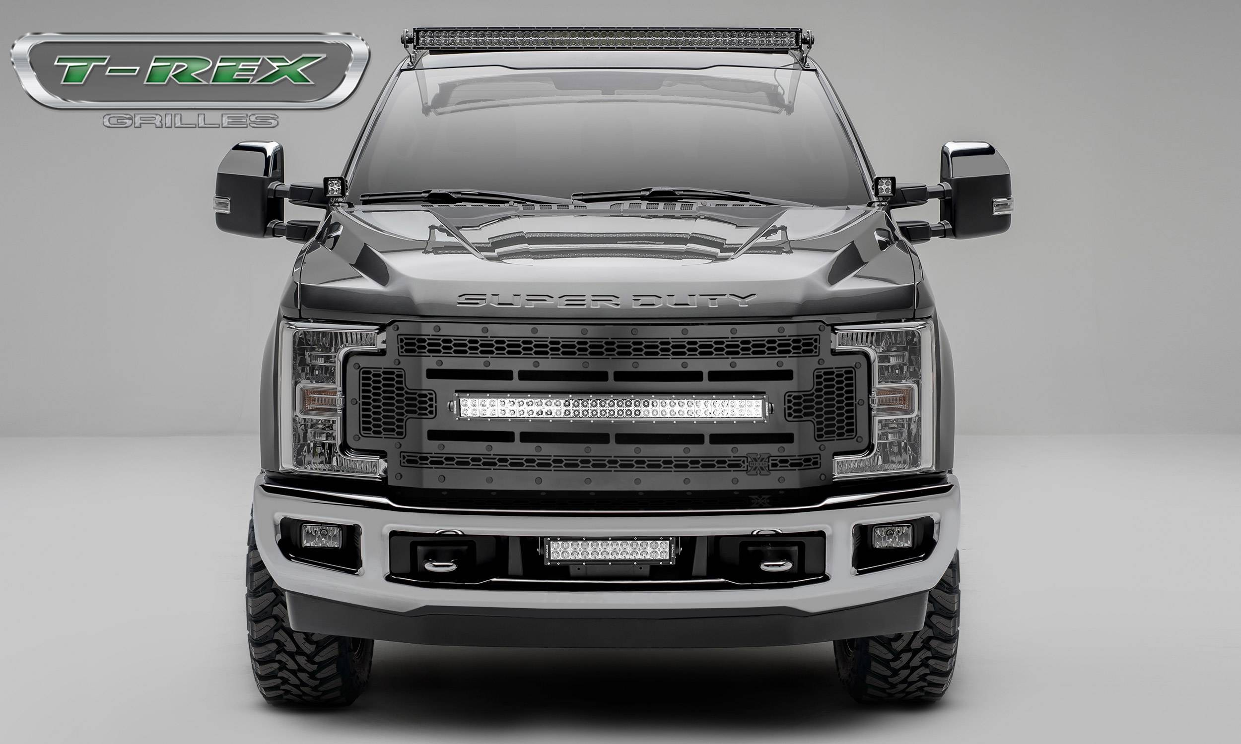 """T-REX Grilles - 2017-2019 Super Duty Stealth Laser Torch Grille, Black, 1 Pc, Replacement, Black Studs with (1) 30"""" LED, Does Not Fit Vehicles with Camera - PN #7315471-BR"""