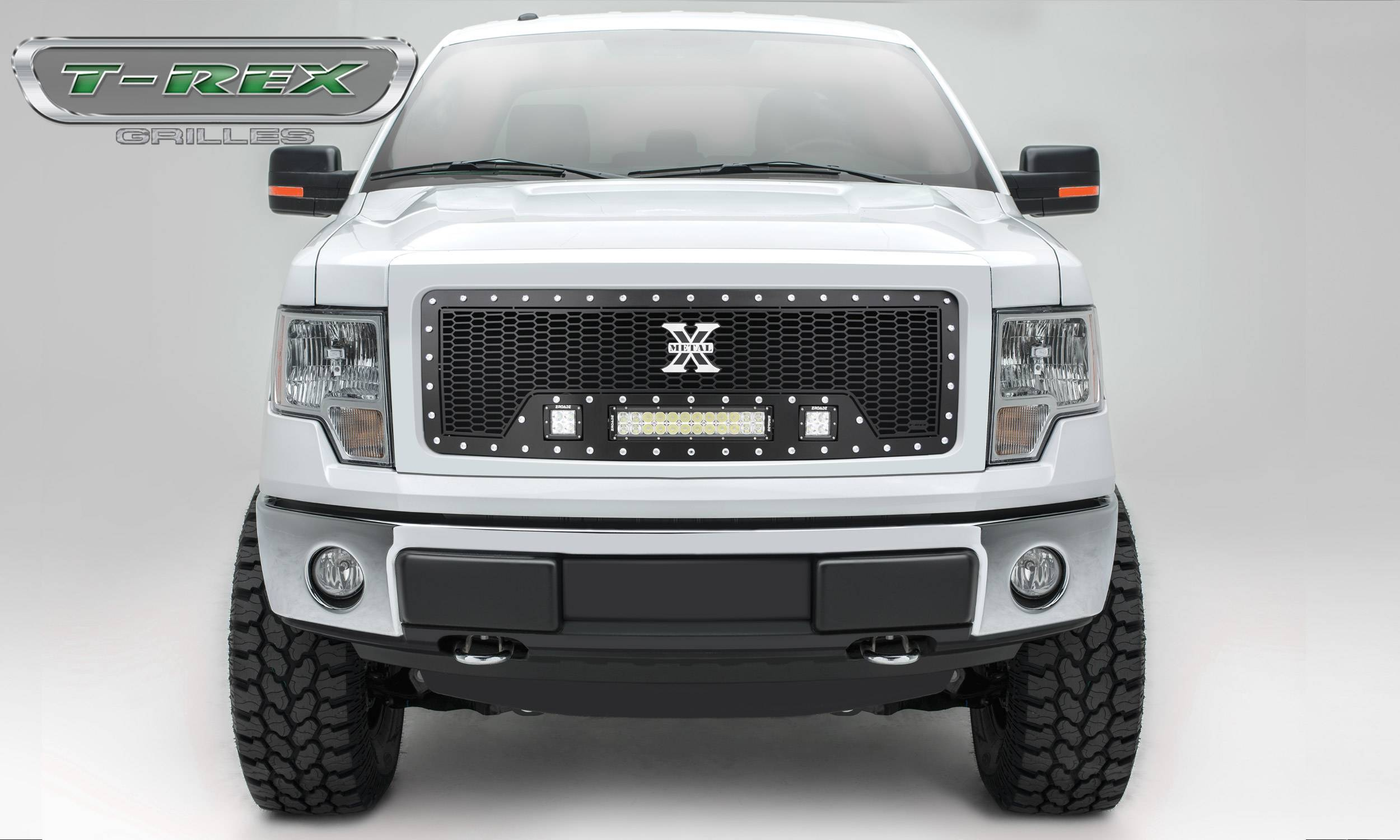 """T-REX Grilles - 2009-2012 F-150 Laser Torch Grille, Black, 1 Pc, Insert, Chrome Studs with (2) 3"""" LED Cubes and (1) 12"""" LEDs - PN #7315681"""