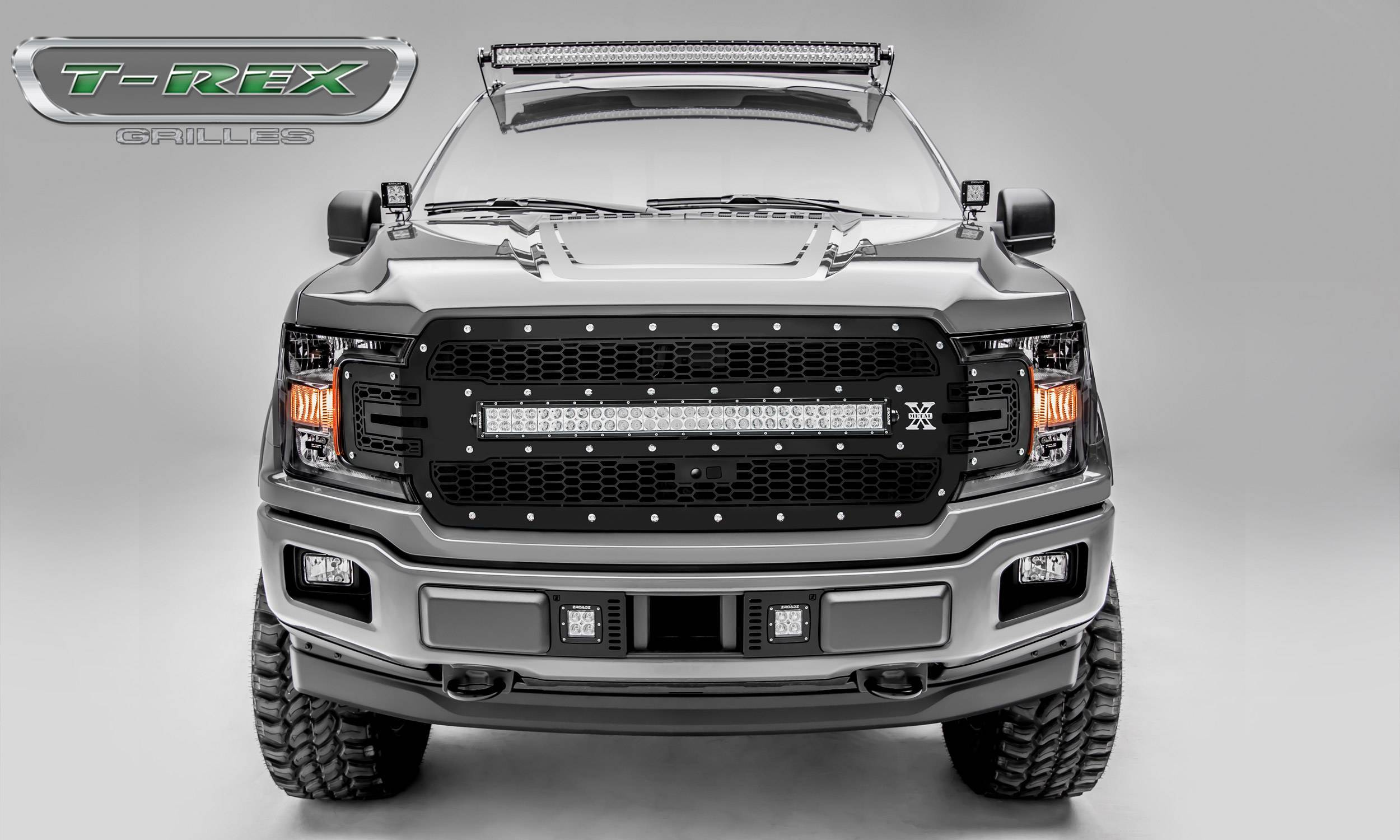 T-REX Grilles - 2018-2020 F-150 Laser Torch Grille, Black, 1 Pc, Replacement, Chrome Studs with 30 Inch LED, Fits Vehicles with Camera - PN #7315751
