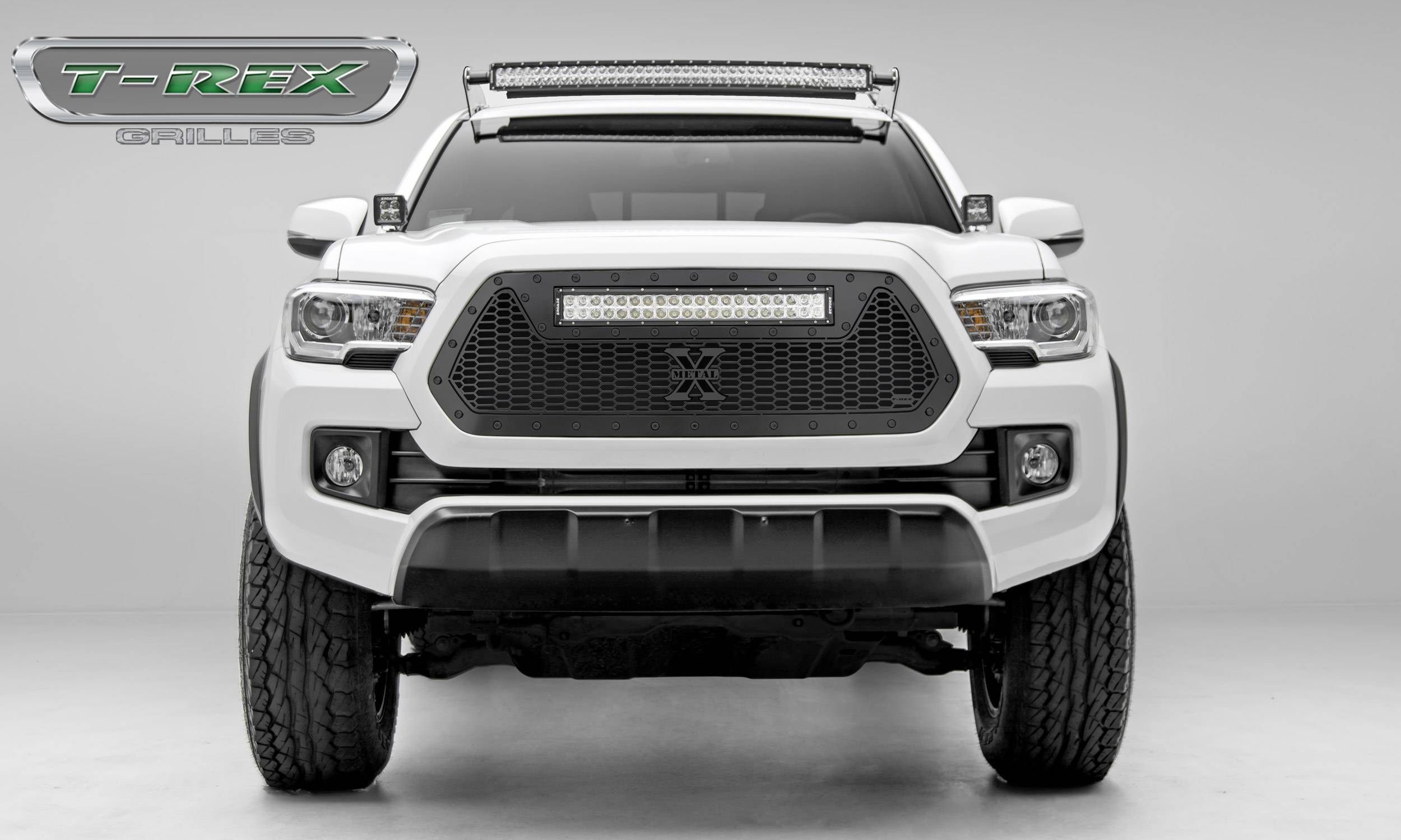 """T-REX Grilles - 2016-2017 Tacoma Stealth Laser Torch Grille, Black, 1 Pc, Insert, Black Studs with (1) 20"""" LED - PN #7319411-BR"""