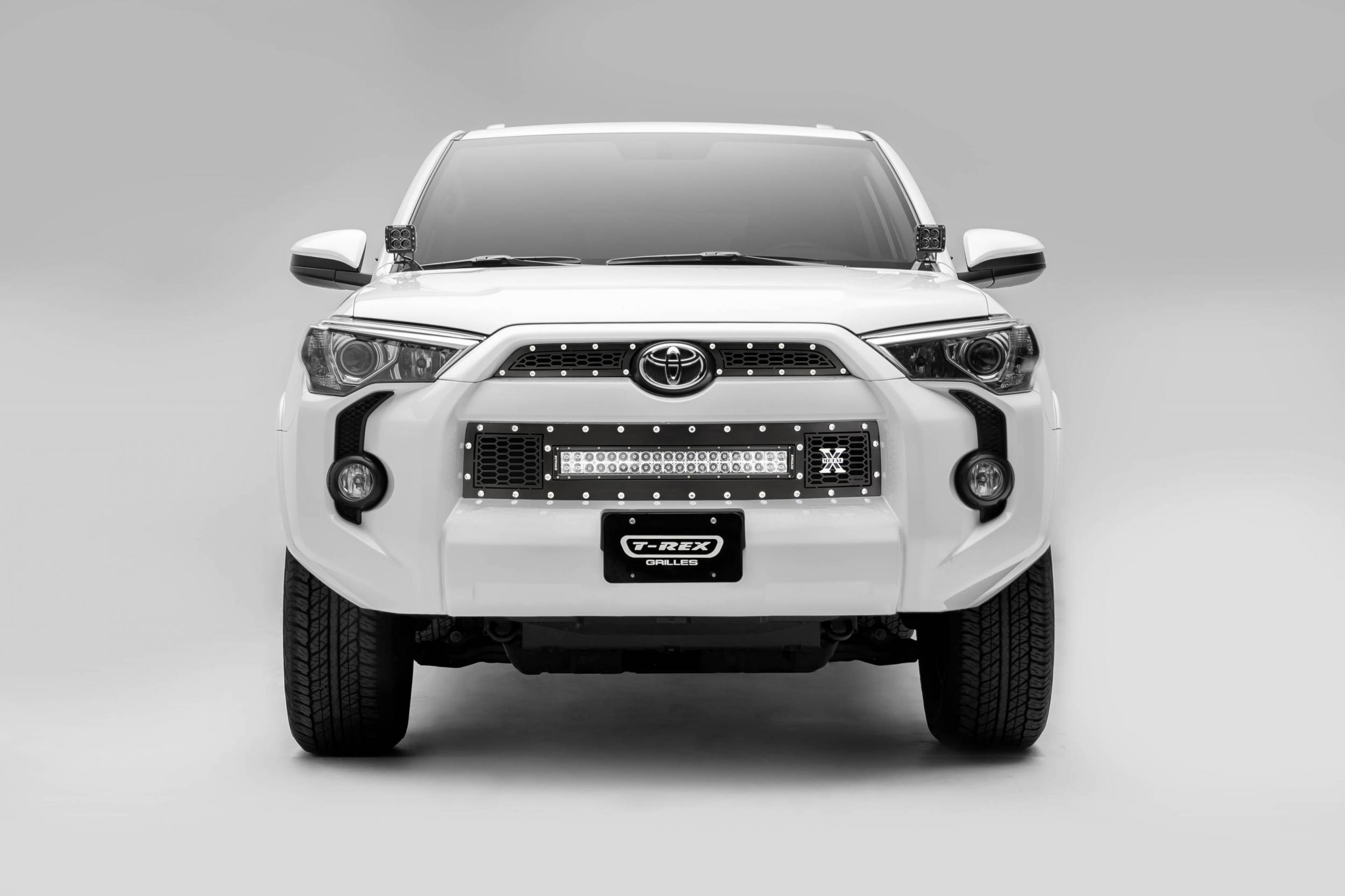 """T-REX Grilles - 2014-2019 Toyota 4Runner Laser Torch Grille, Black, 3 Pc, Insert, Chrome Studs with (1) 20"""" LED - PN #7319491"""
