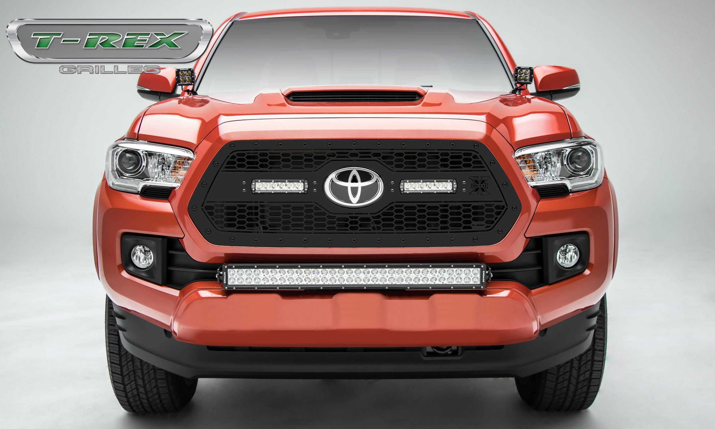 """T-REX Grilles - 2018-2021 Tacoma Stealth Laser Torch Grille, Black, 1 Pc, Insert, Black Studs with (2) 6"""" LEDs, Does Not Fit Vehicles with Camera - PN #7319511-BR"""