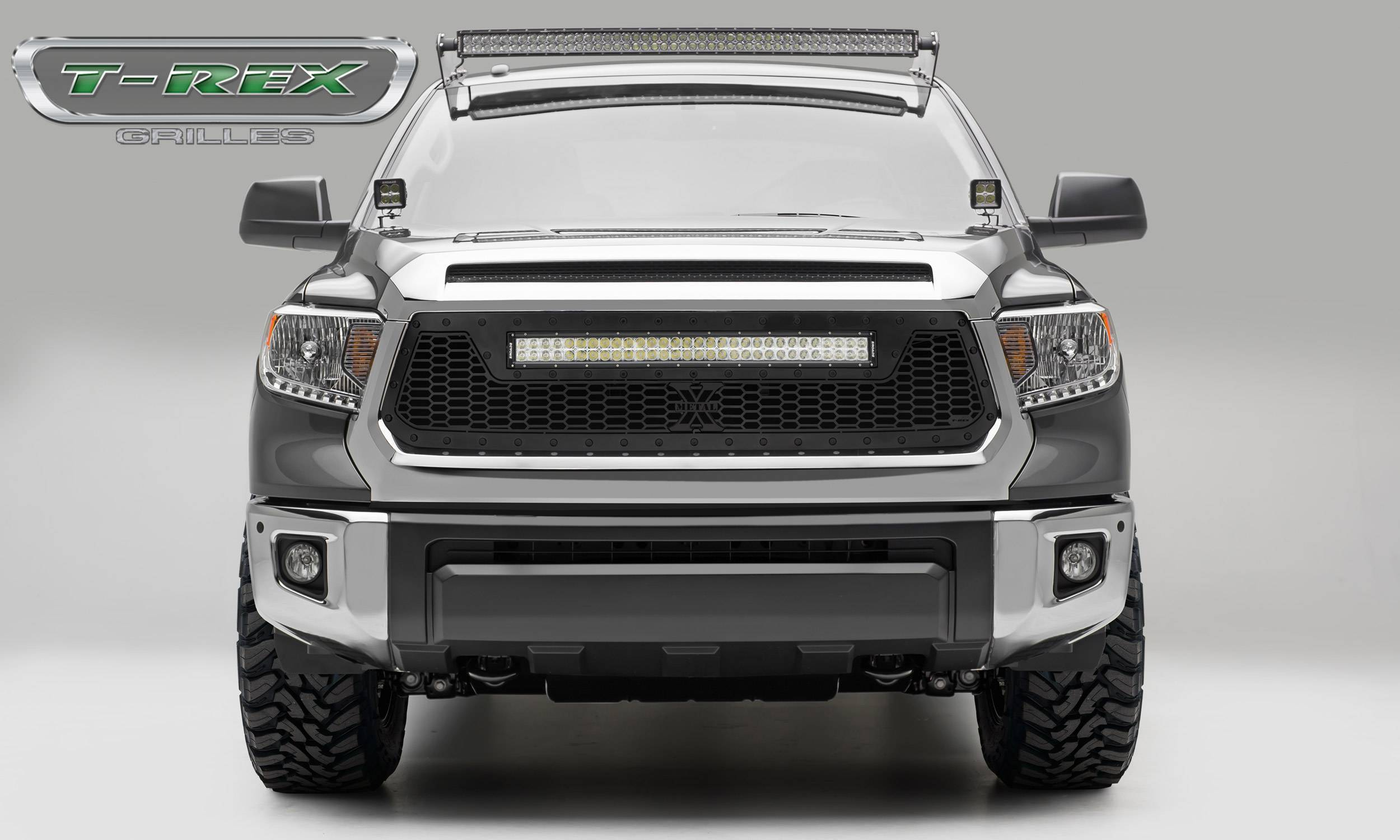 """T-REX Grilles - 2014-2017 Tundra Stealth Laser Torch Grille, Black, 1 Pc, Replacement, Black Studs with (1) 30"""" LED - PN #7319641-BR"""