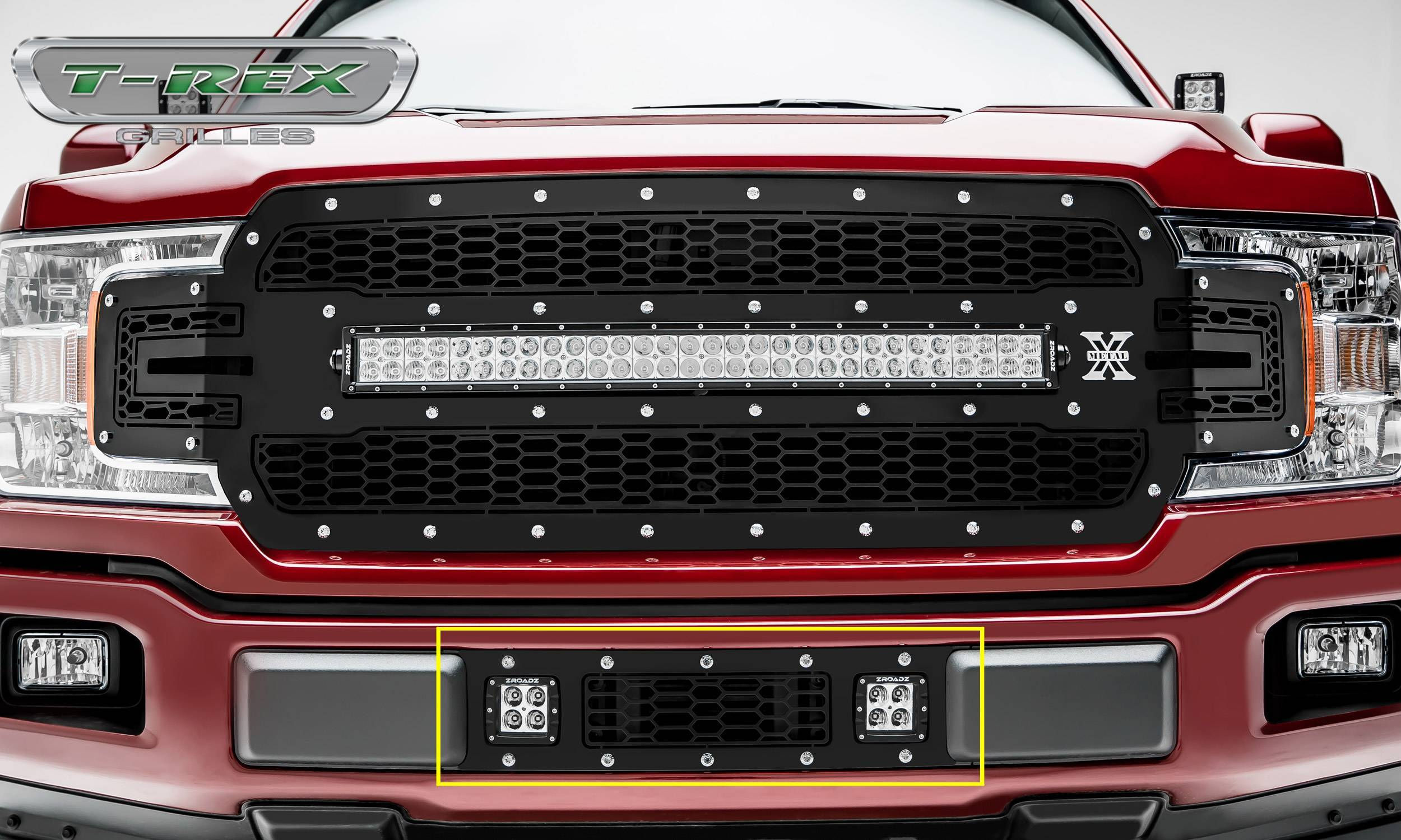 T-REX Grilles - 2018-2020 F-150 Limited, Lariat Laser Torch Bumper Grille, Black, 1 Pc, Overlay, Chrome Studs with (2) 3 Inch LED Cube Lights - PN #7325711