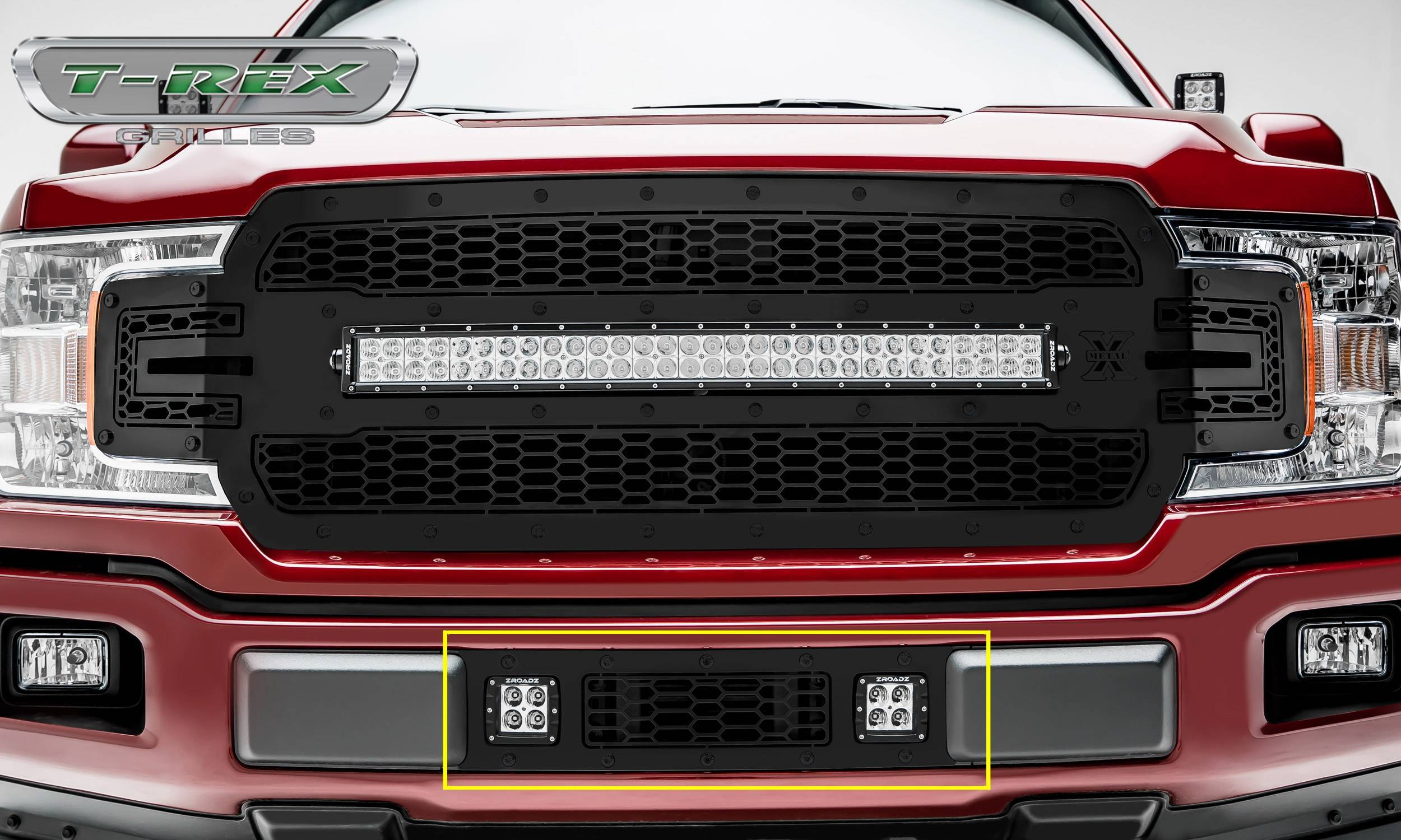 T-REX Grilles - 2018-2020 F-150 Limited, Lariat Stealth Laser Torch Bumper Grille, Black, 1 Pc, Overlay, Black Studs with (2) 3 Inch LED Cube Lights - PN #7325711-BR