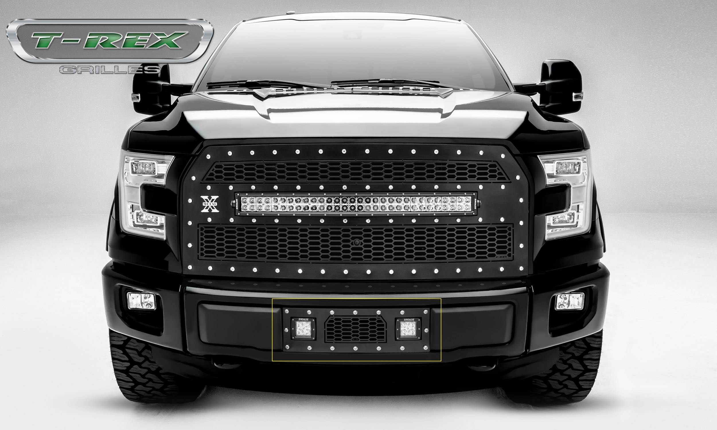 """T-REX Grilles - 2015-2017 F-150 Laser Torch Bumper Grille, Black, 1 Pc, Insert, Chrome Studs with (2) 3"""" LED Cube Lights - PN #7325731"""