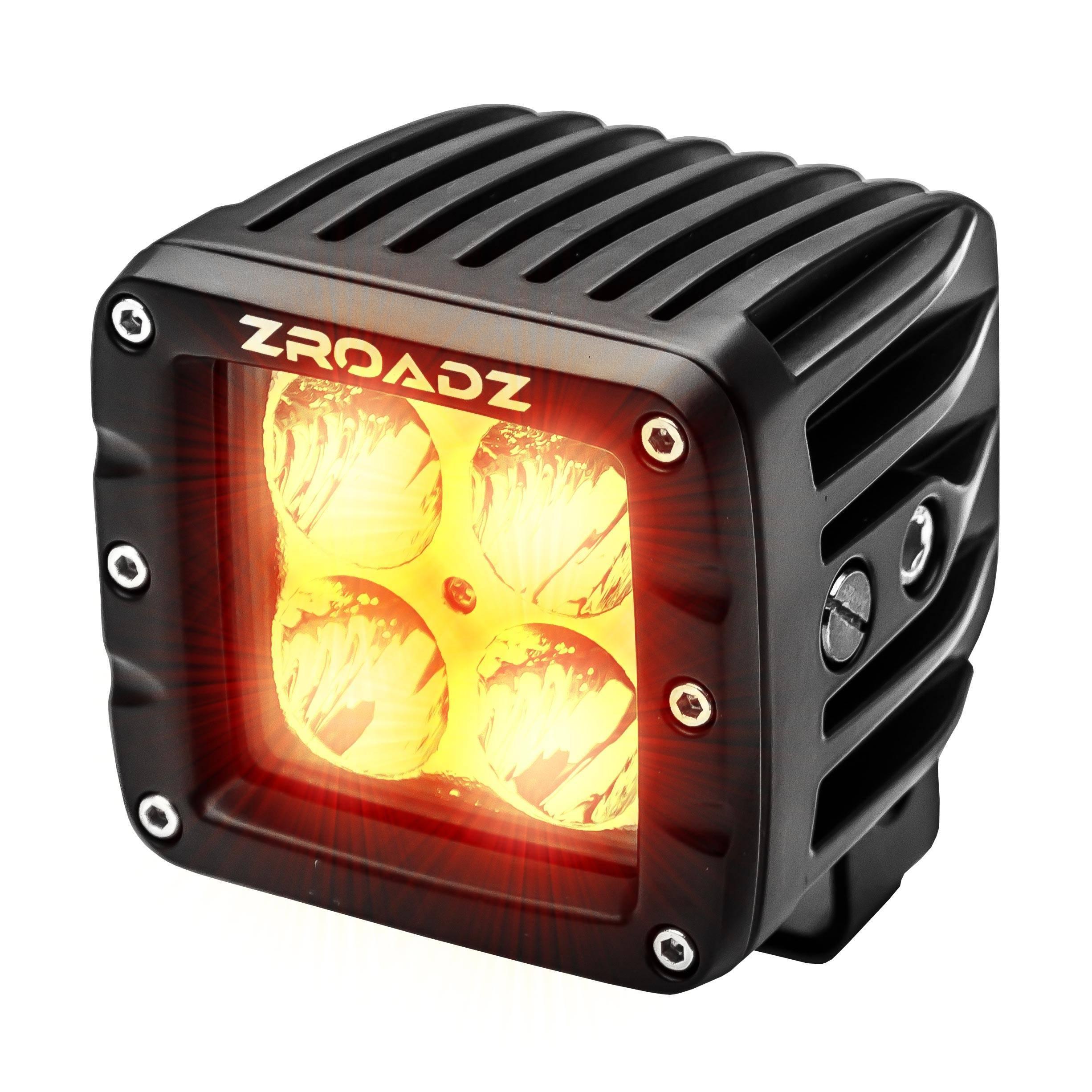 ZROADZ OFF ROAD PRODUCTS - 3 Inch AMBER LED Flood Beam Pod Light - PN #Z30BC20W-2-E4A