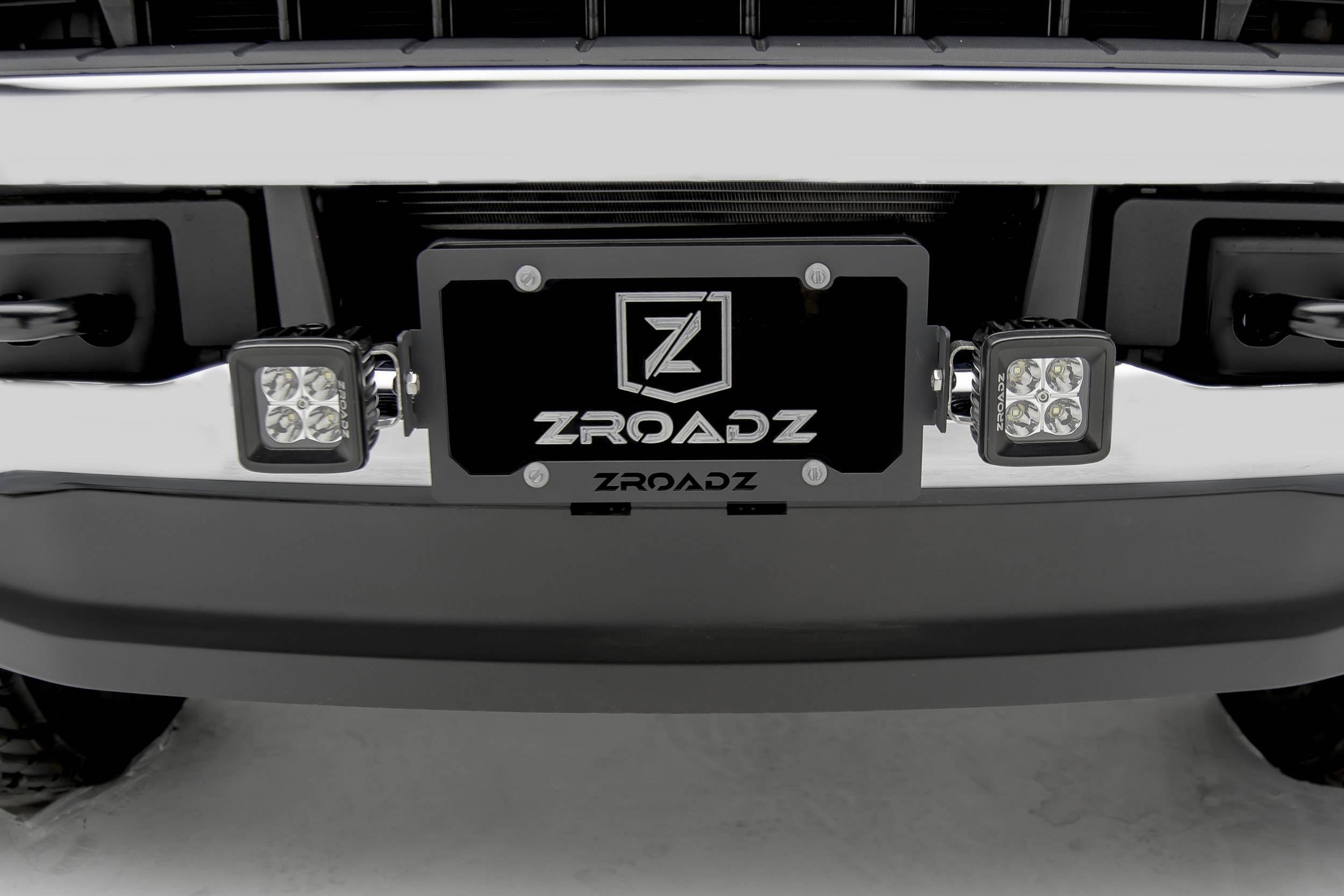 ZROADZ OFF ROAD PRODUCTS - Universal License Plate Frame LED Bracket to mount (2) 3 Inch LED Pod Lights - PN #Z310005