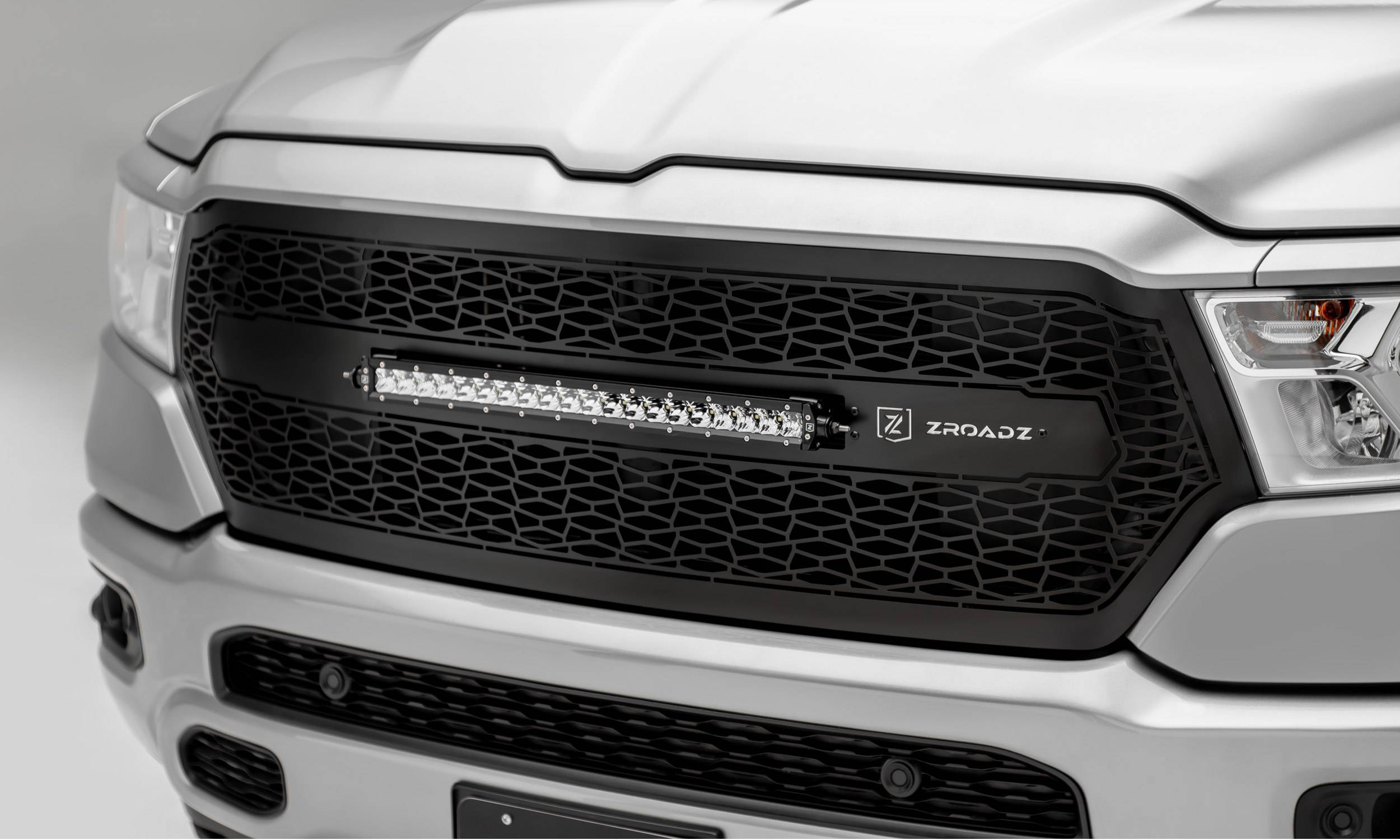 "T-REX Grilles - 2019-2021 Ram 1500 Laramie, Lone Star, Big Horn, Tradesman ZROADZ Grille, Black, 1 Pc, Replacement with (1) 20"" LED, Does Not Fit Vehicles with Camera - PN #Z314651"
