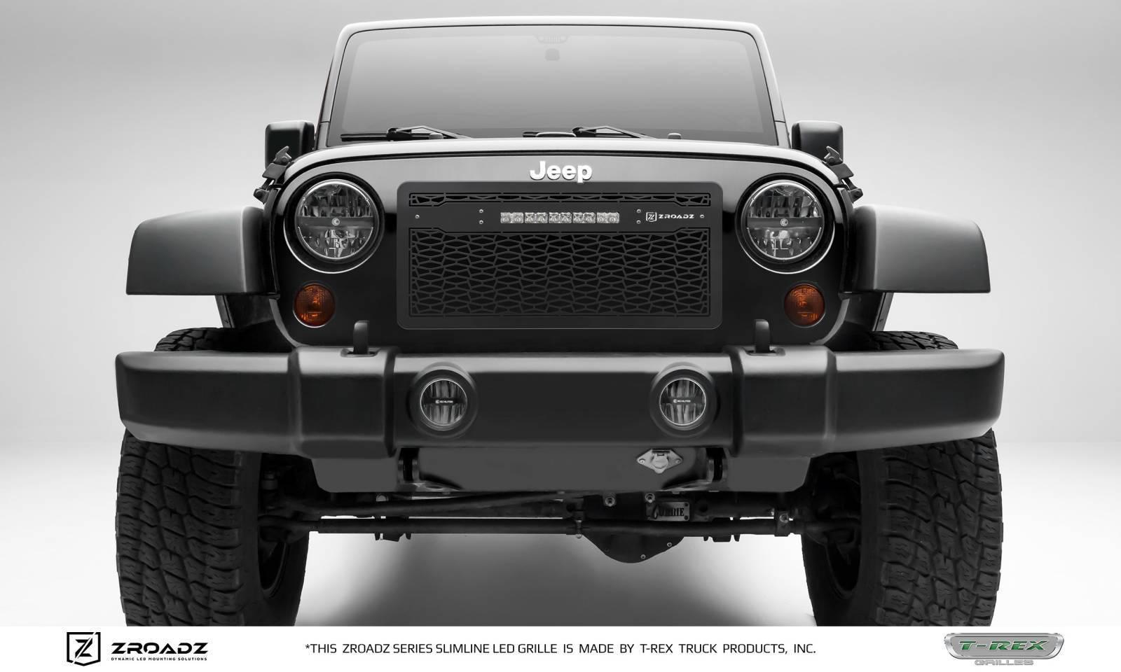 "T-REX Grilles - 2007-2018 Jeep JK, JKU ZROADZ Grille, Black with Black Trim, 1 Pc, Insert with (1) 10"" LED - PN #Z314831-10C"