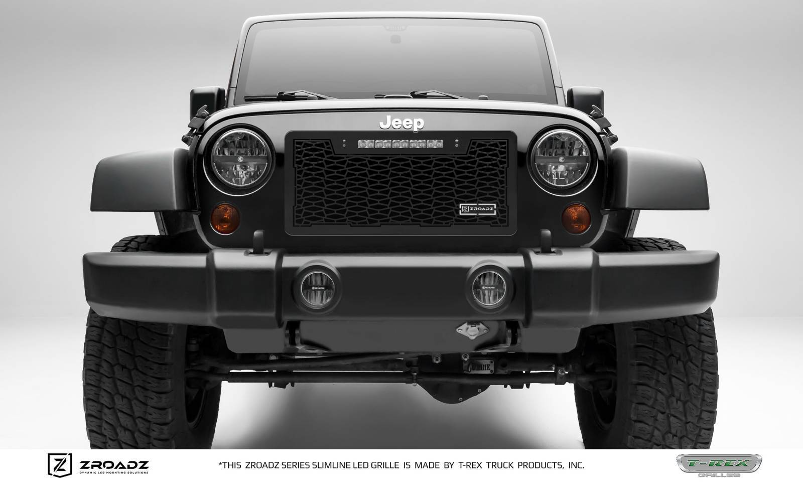 "T-REX Grilles - 2007-2018 Jeep JK, JKU ZROADZ Grille, Black, 1 Pc, Insert with (1) 10"" LED - PN #Z314831-10T"