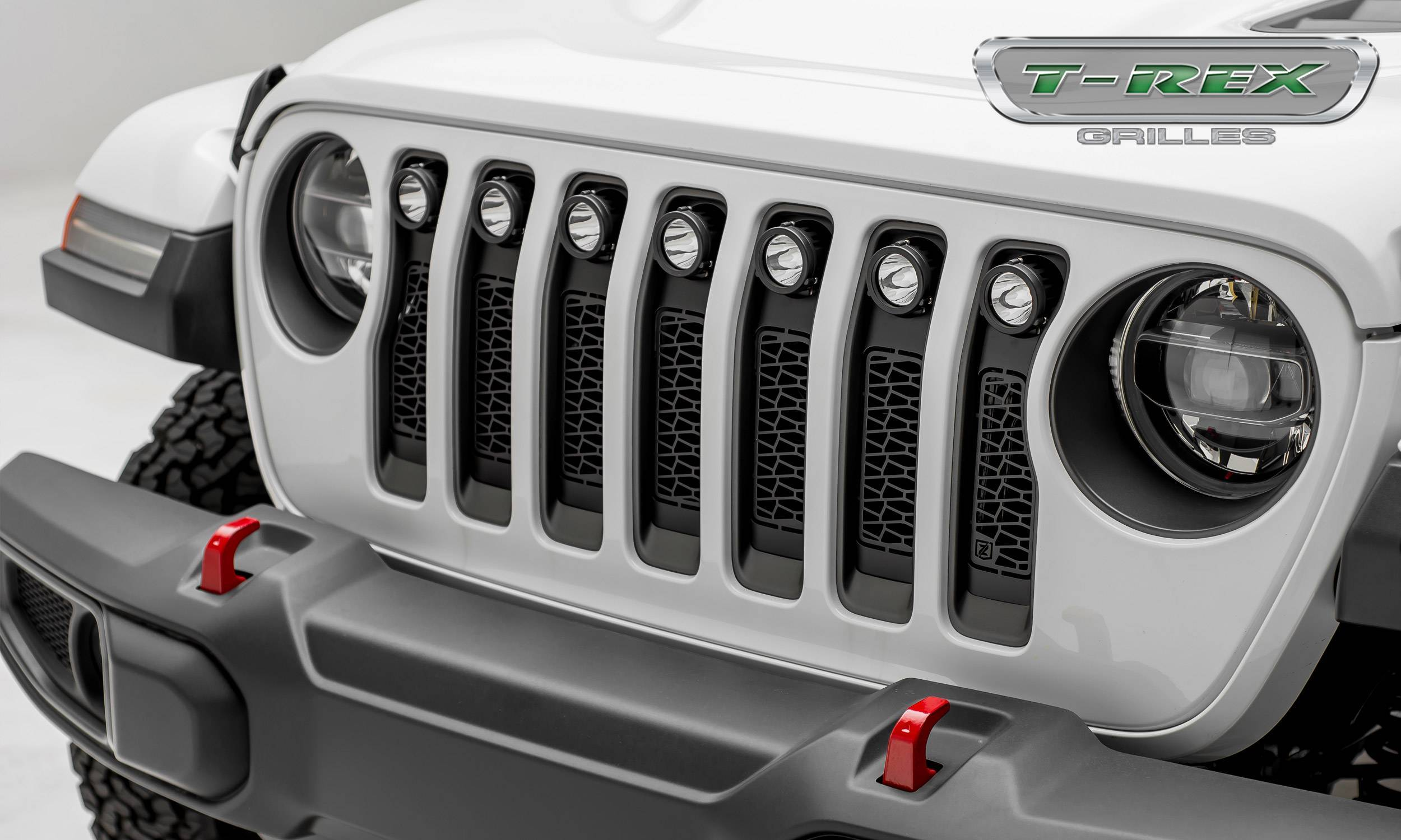 T-REX Grilles - Jeep Gladiator, JL ZROADZ Grille, Black, 1 Pc, Insert with (7) 2 Inch LED Round Lights, Does Not Fit Vehicles with Camera - PN #Z314931