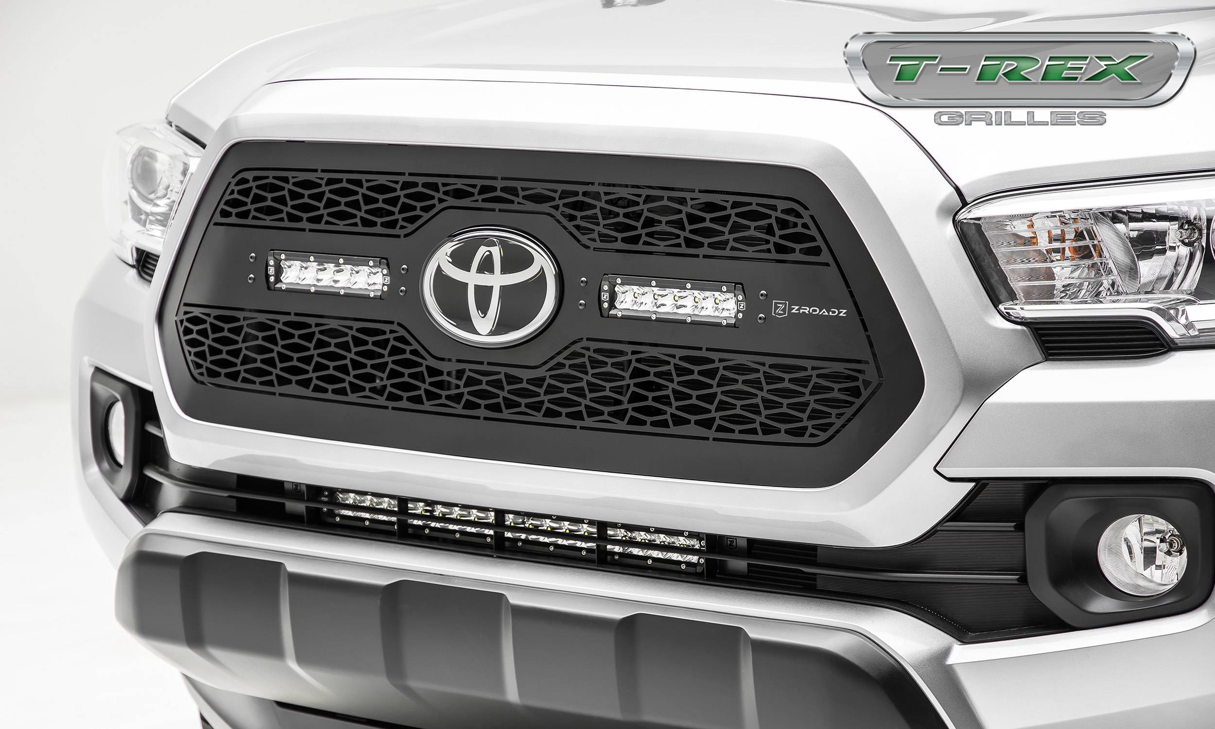 "T-REX Grilles - 2018-2021 Tacoma ZROADZ Grille, Black, 1 Pc, Insert with (2) 6"" LEDs, Does Not Fit Vehicles with Camera - PN #Z319511"