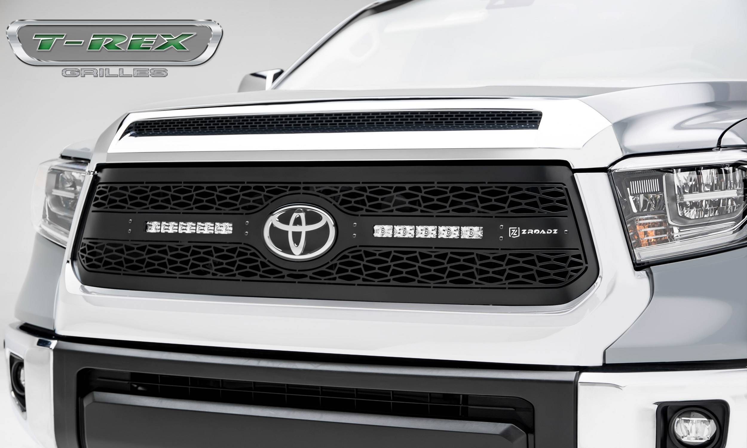 """T-REX Grilles - 2018-2021 Tundra ZROADZ Grille, Black, 1 Pc, Replacement with (2) 10"""" LEDs, Does Not Fit Vehicles with Camera - PN #Z319661"""