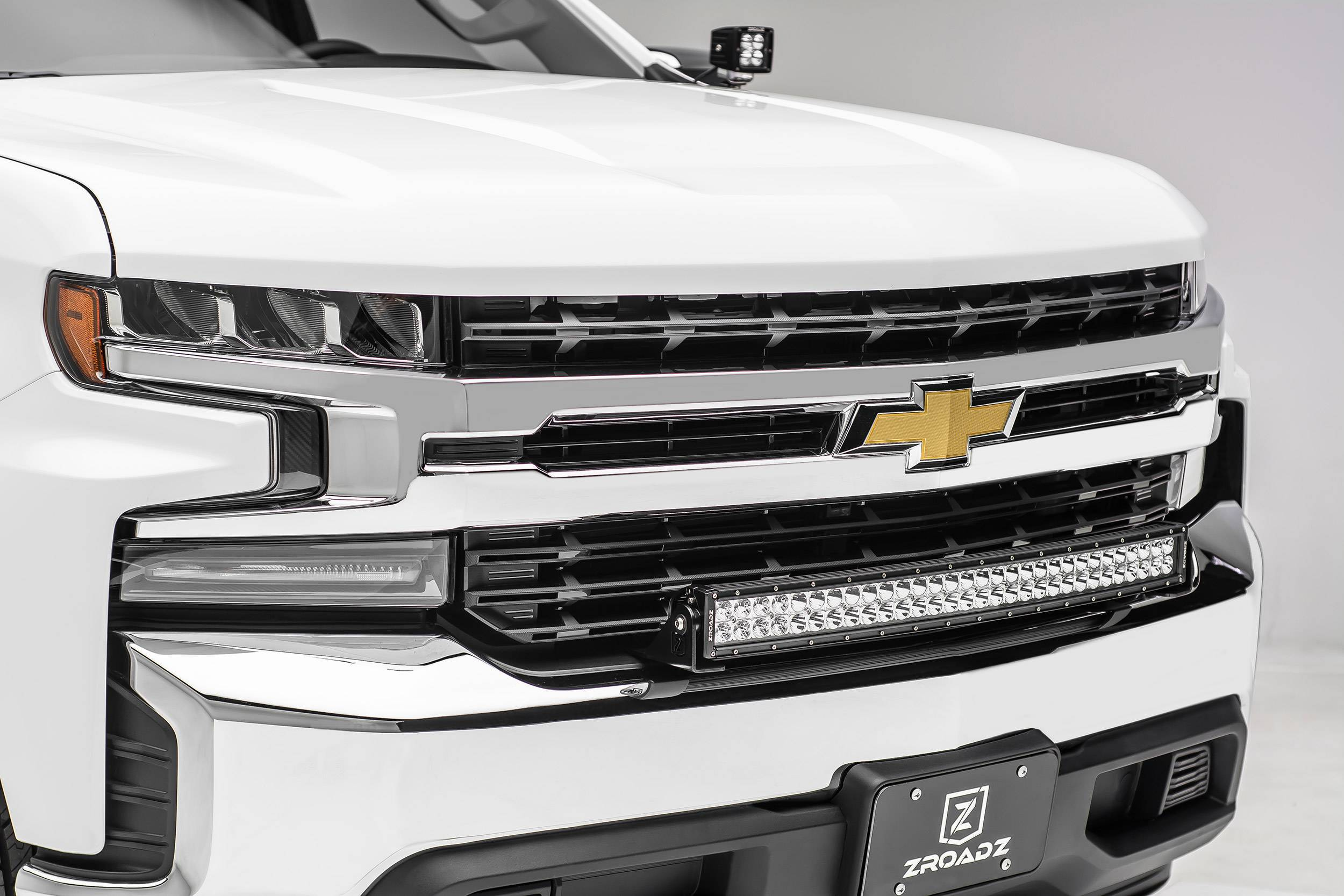 ZROADZ - 2019-2021 Chevrolet Silverado 1500 Front Bumper Top LED Kit with (1) 30 Inch LED Curved Double Row Light Bar - PN #Z322282-KIT