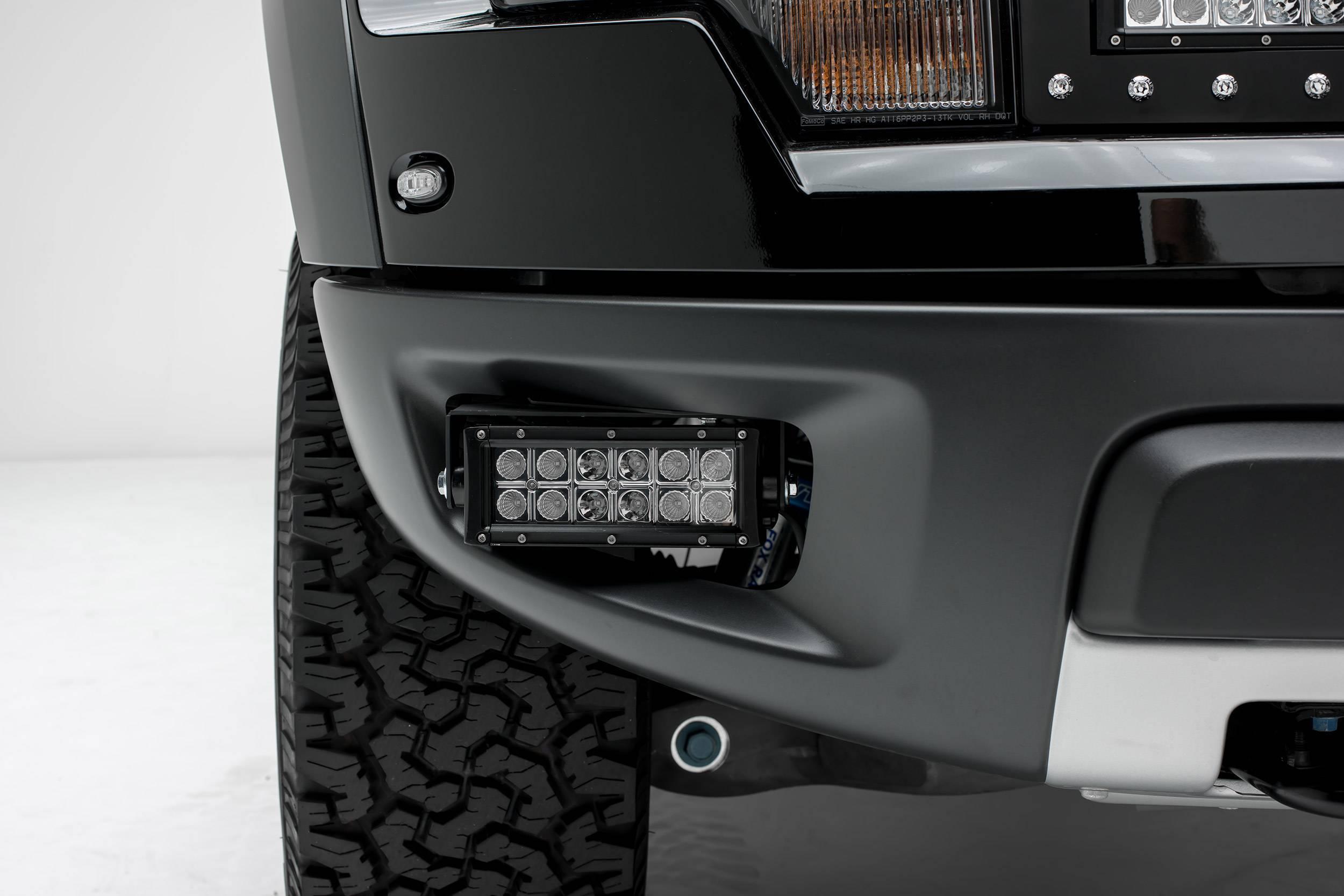 ZROADZ - 2010-2014 Ford F-150 Raptor Front Bumper OEM Fog LED Kit with (2) 6 Inch LED Straight Double Row Light Bars - PN #Z325651-KIT