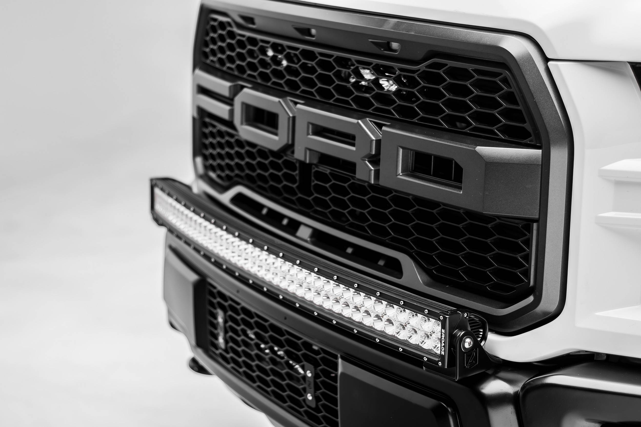 ZROADZ - 2017-2021 Ford F-150 Raptor Front Bumper Top LED Kit with 40 Inch LED Curved Double Row Light Bar - PN #Z325662-KIT