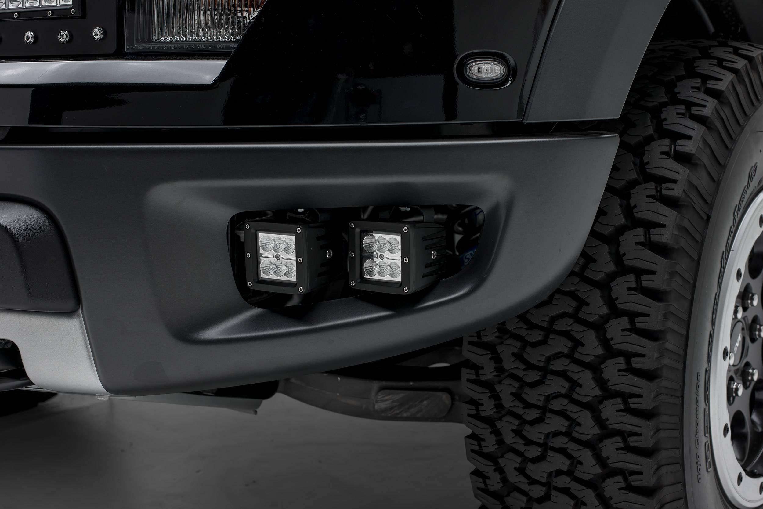 ZROADZ OFF ROAD PRODUCTS - 2010-2014 Ford F-150 Raptor Front Bumper OEM Fog LED Kit with (4) 3 Inch LED Pod Lights - PN #Z325671-KIT