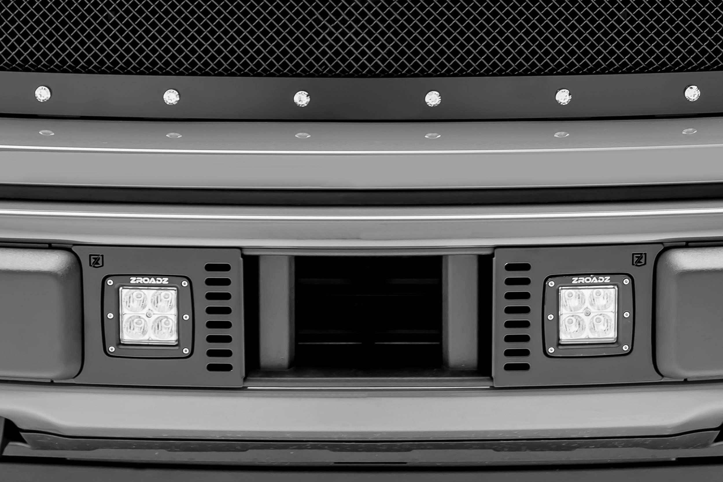 ZROADZ - 2018-2020 Ford F-150 Lariat, Limited Front Bumper Center LED Kit with (2) 3 Inch LED Pod Lights - PN# Z325711-KIT