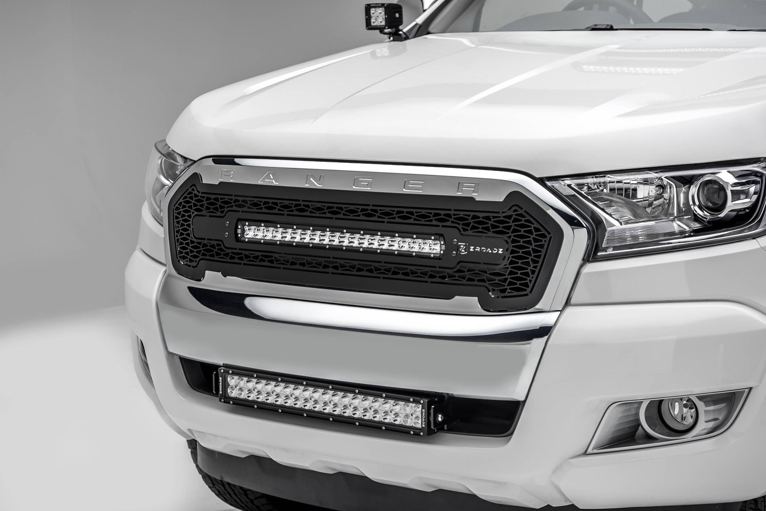 ZROADZ - 2015-2018 Ford Ranger T6 Front Bumper Center LED Kit with (1) 20 Inch LED Straight Double Row Light Bar - PN #Z325761-KIT