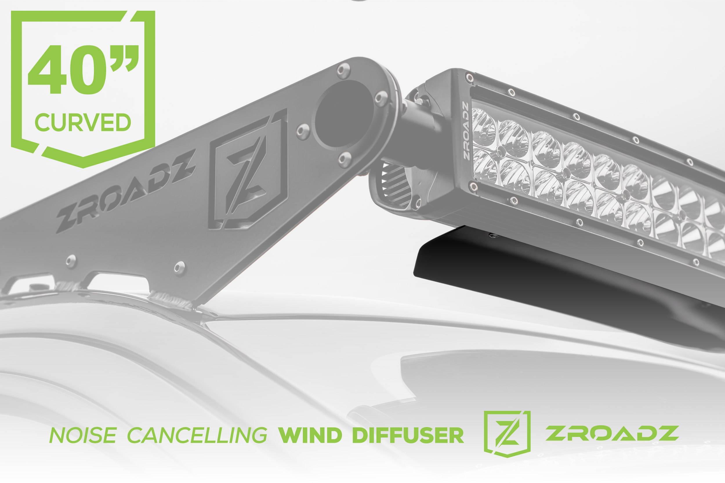 ZROADZ - Noise Cancelling Wind Diffuser for (1) 40 Inch Curved LED Light Bar - PN #Z330040C