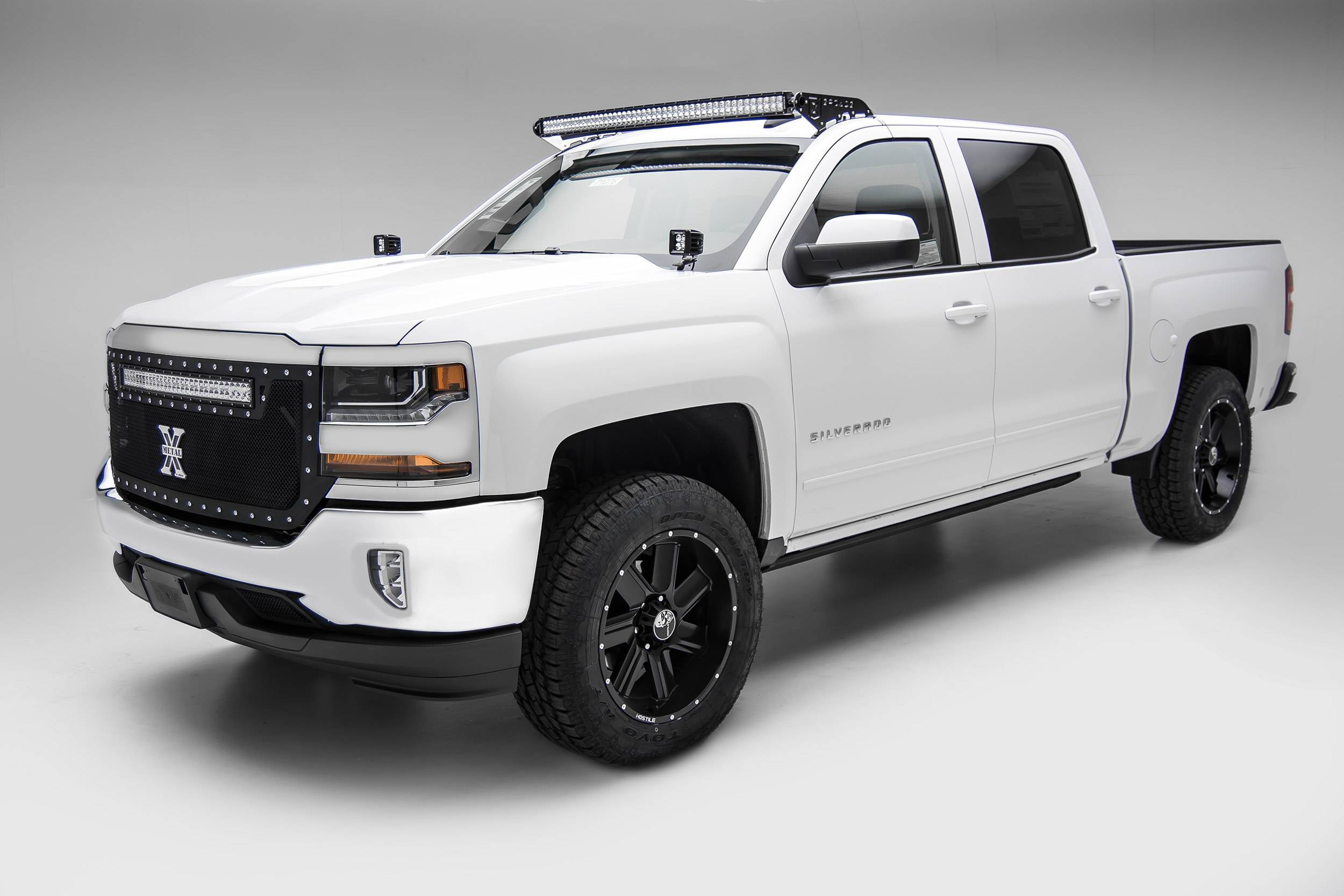 ZROADZ - Silverado, Sierra Front Roof LED Kit with (1) 50 Inch LED Curved Double Row Light Bar - PN #Z332281-KIT-C
