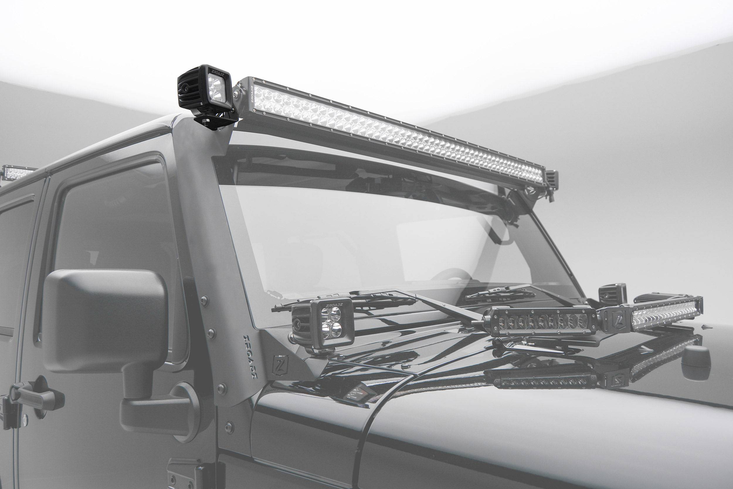 ZROADZ - 2007-2018 Jeep JK Front Roof Side LED Kit with (2) 3 Inch LED Pod Lights - PN #Z334811-KIT