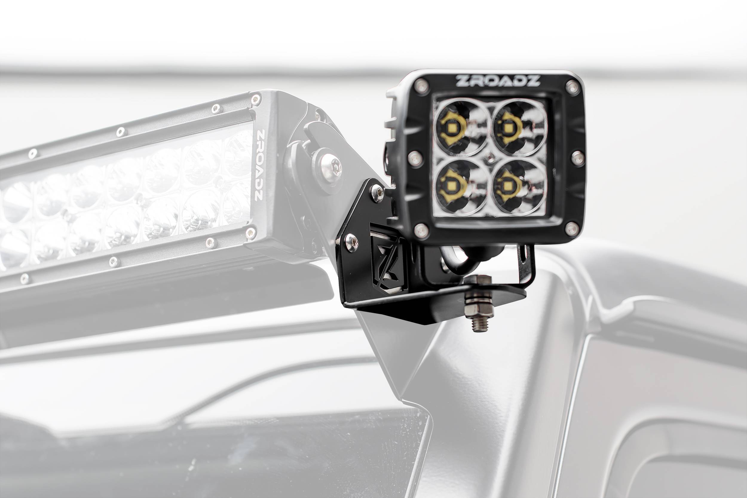 ZROADZ - Jeep JL, Gladiator Front Roof Side LED Bracket to mount (2) 3 Inch LED Pod Lights - PN #Z334851