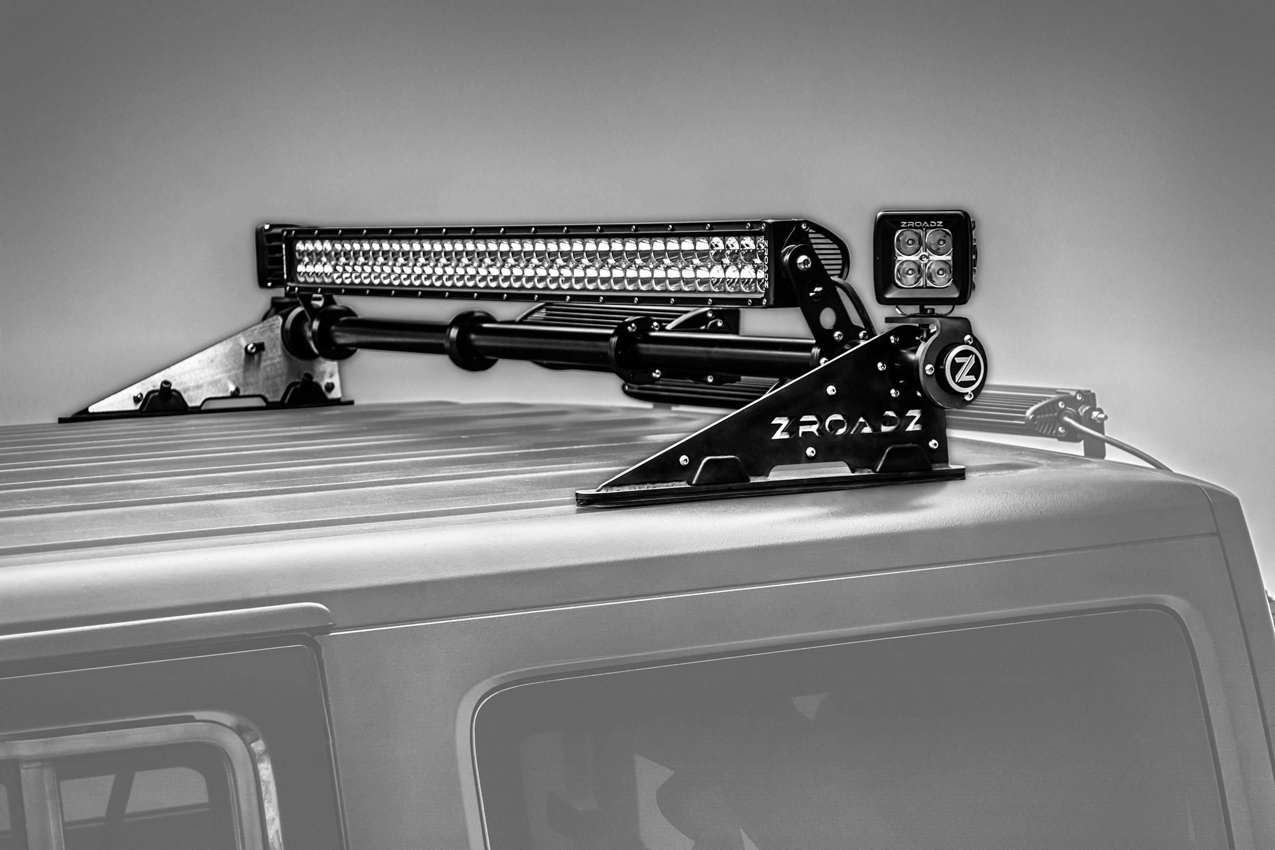 ZROADZ - Jeep JK, JL Modular Rack LED Kit with (1) 40 Inch (1) 20 Inch Straight Double Row Light Bars, (2) 3 Inch LED Pod Lights - PN #Z350050-JK-KIT-B