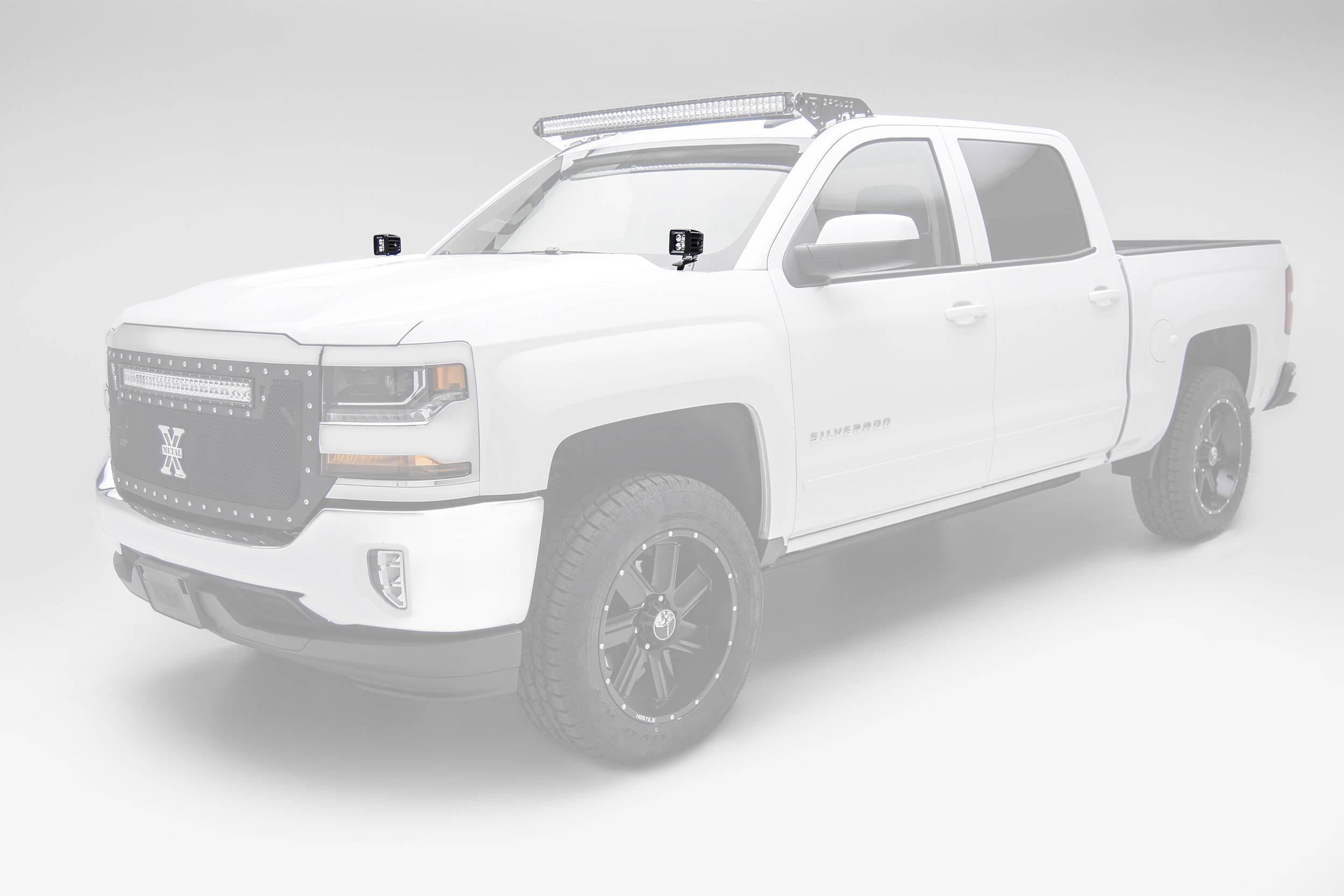 ZROADZ OFF ROAD PRODUCTS - 2014-2018 Silverado, Sierra 1500 Hood Hinge LED Bracket to mount (2) 3 Inch LED Pod Lights - PN #Z362081