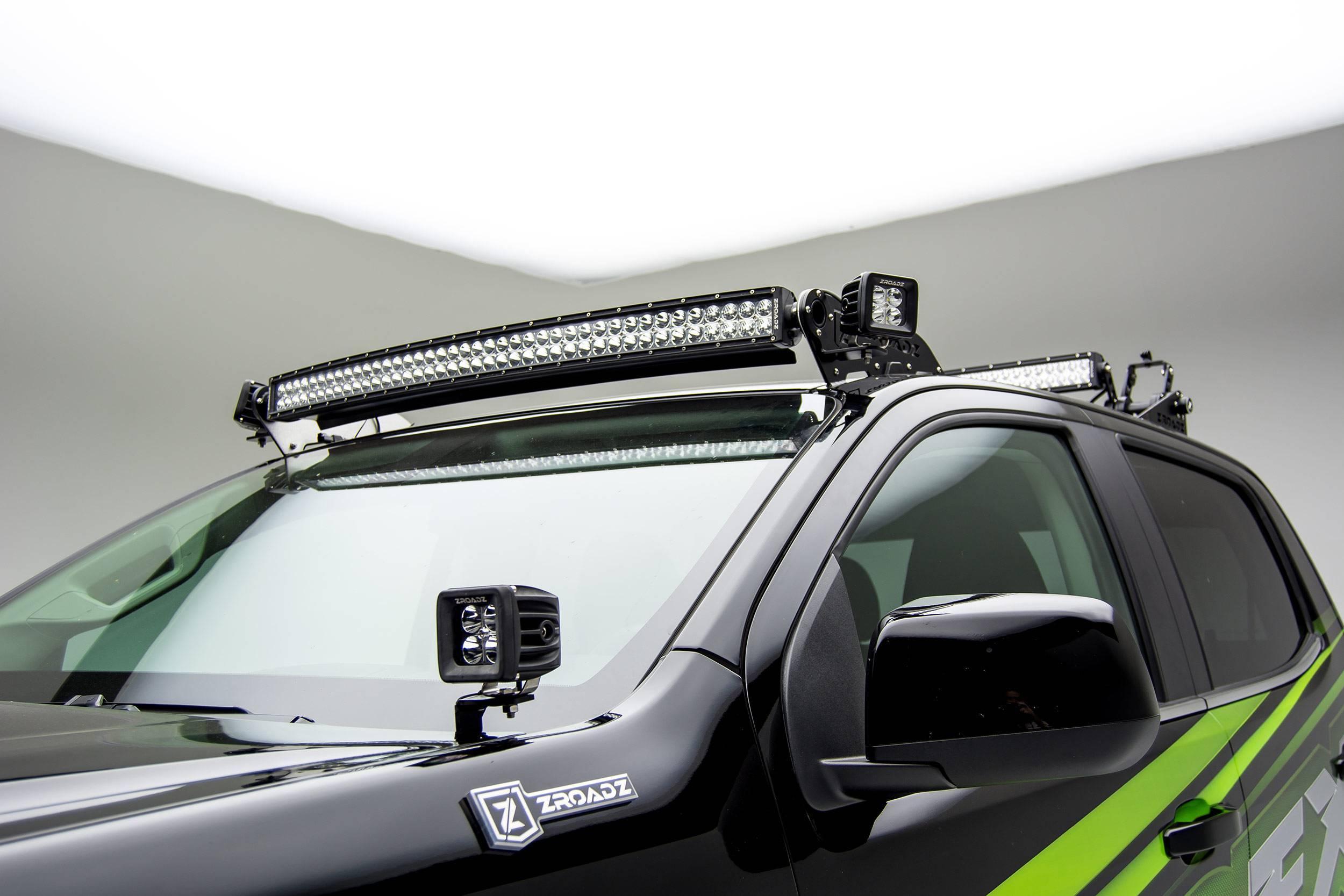ZROADZ OFF ROAD PRODUCTS - 2015-2020 Colorado, Canyon Hood Hinge LED Bracket to mount (2) 3 Inch LED Pod Lights - PN #Z362671