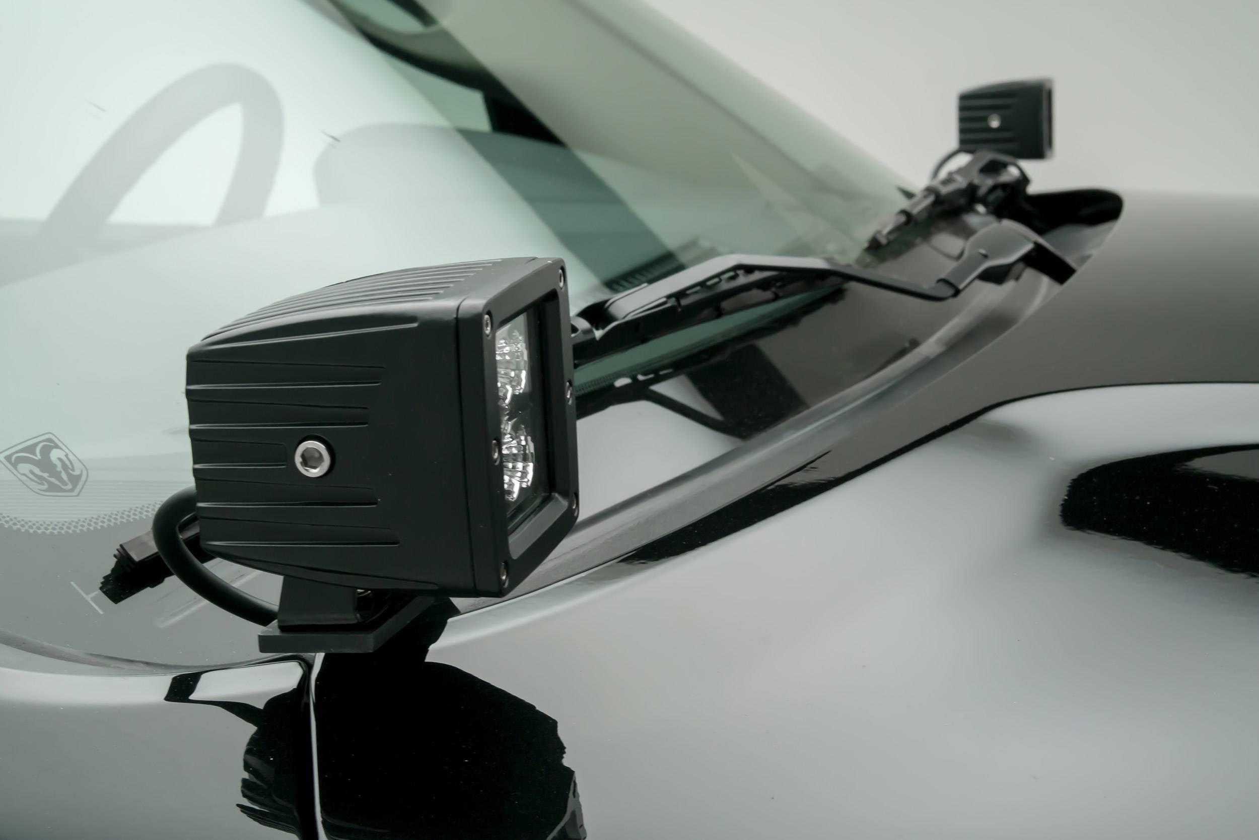 ZROADZ - Ram Hood Hinge LED Kit with (2) 3 Inch LED Pod Lights - PN #Z364521-KIT2