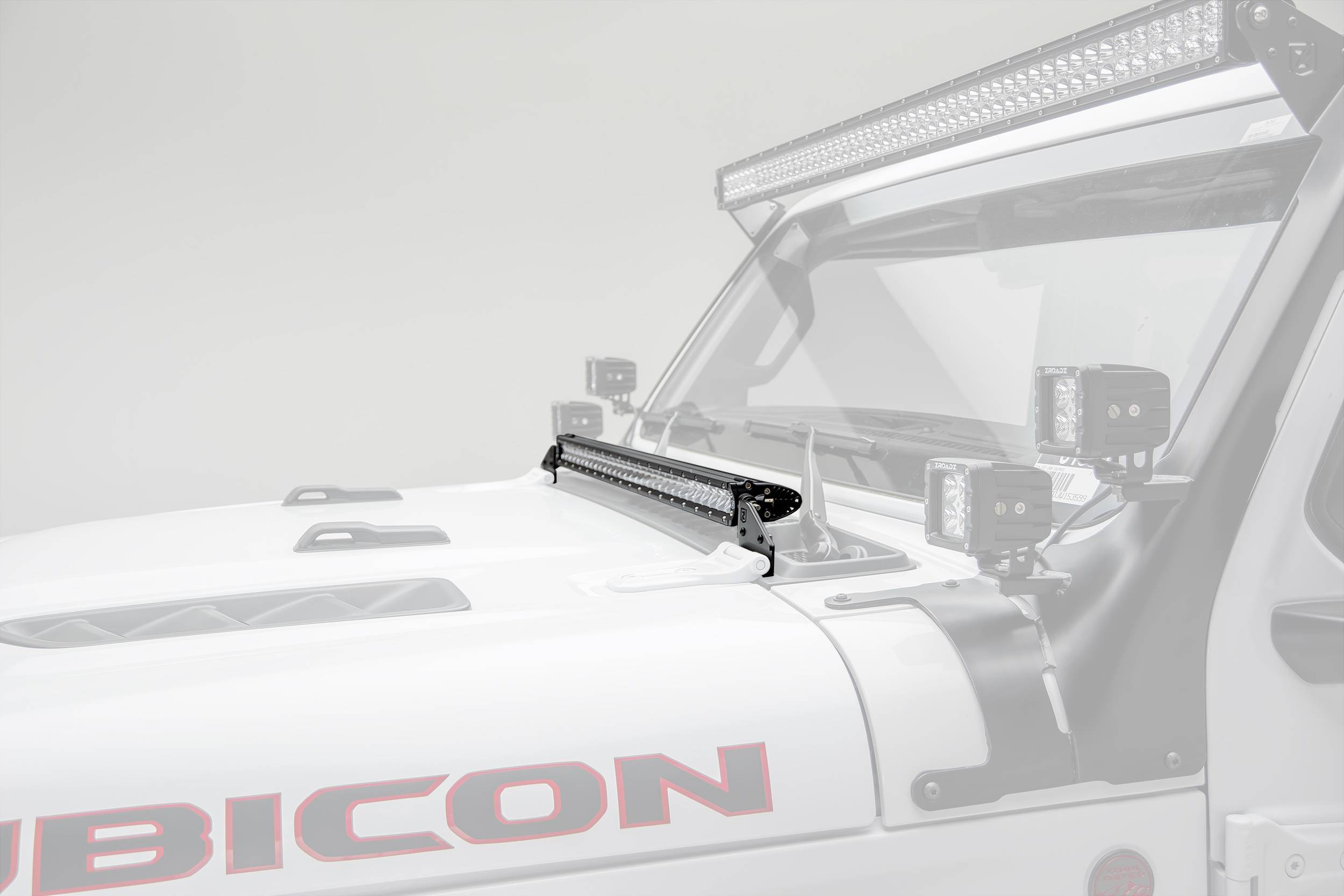 ZROADZ - Jeep JL, Gladiator Hood Cowl LED Bracket to mount (1) 30 Inch Singe Row Slim LED Light Bar - PN #Z364931