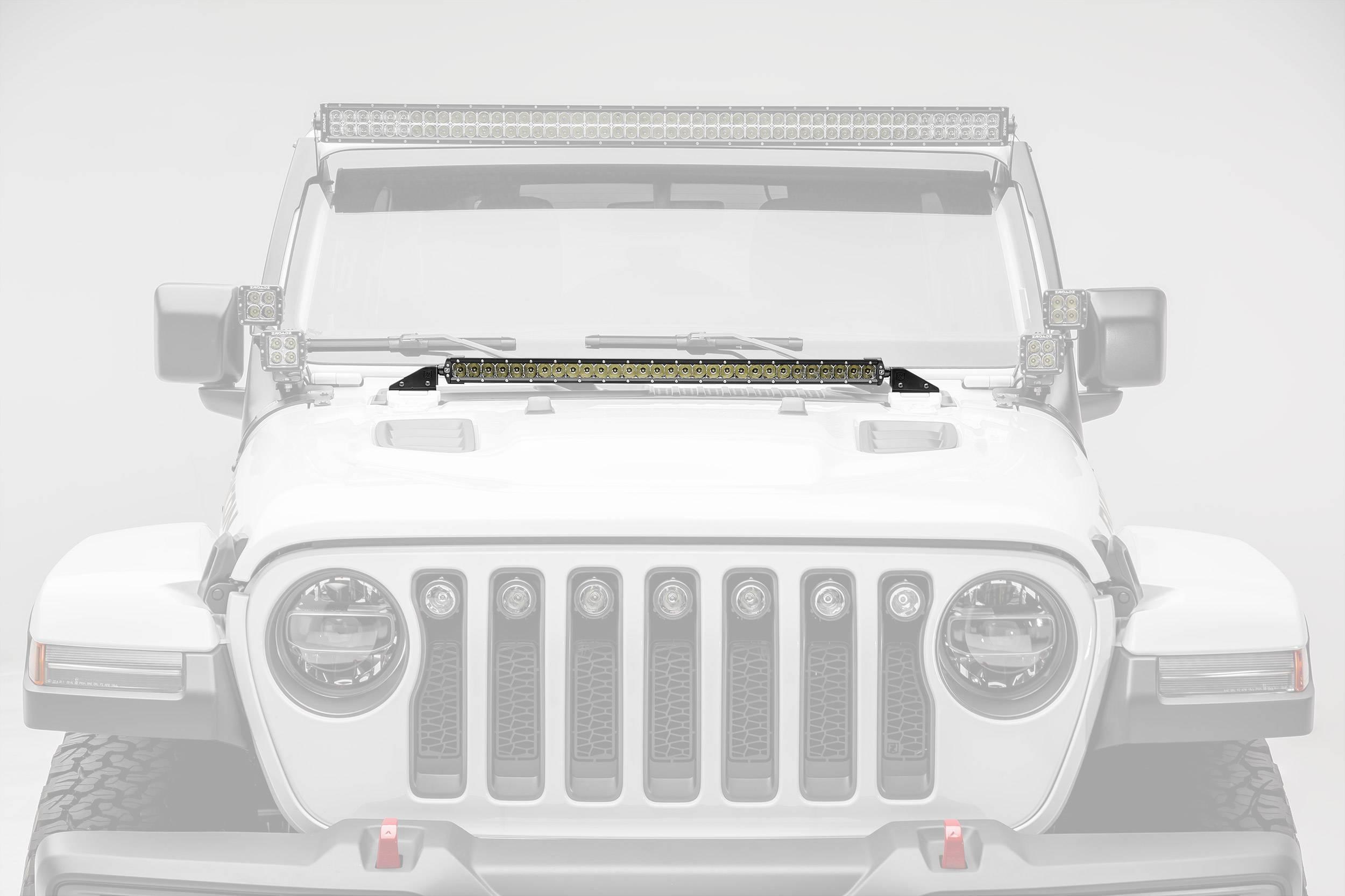 ZROADZ - Jeep JL, Gladiator Hood Cowl LED Kit with (1) 30 Inch LED Straight Single Row Slim Light Bar - PN #Z364931-KIT