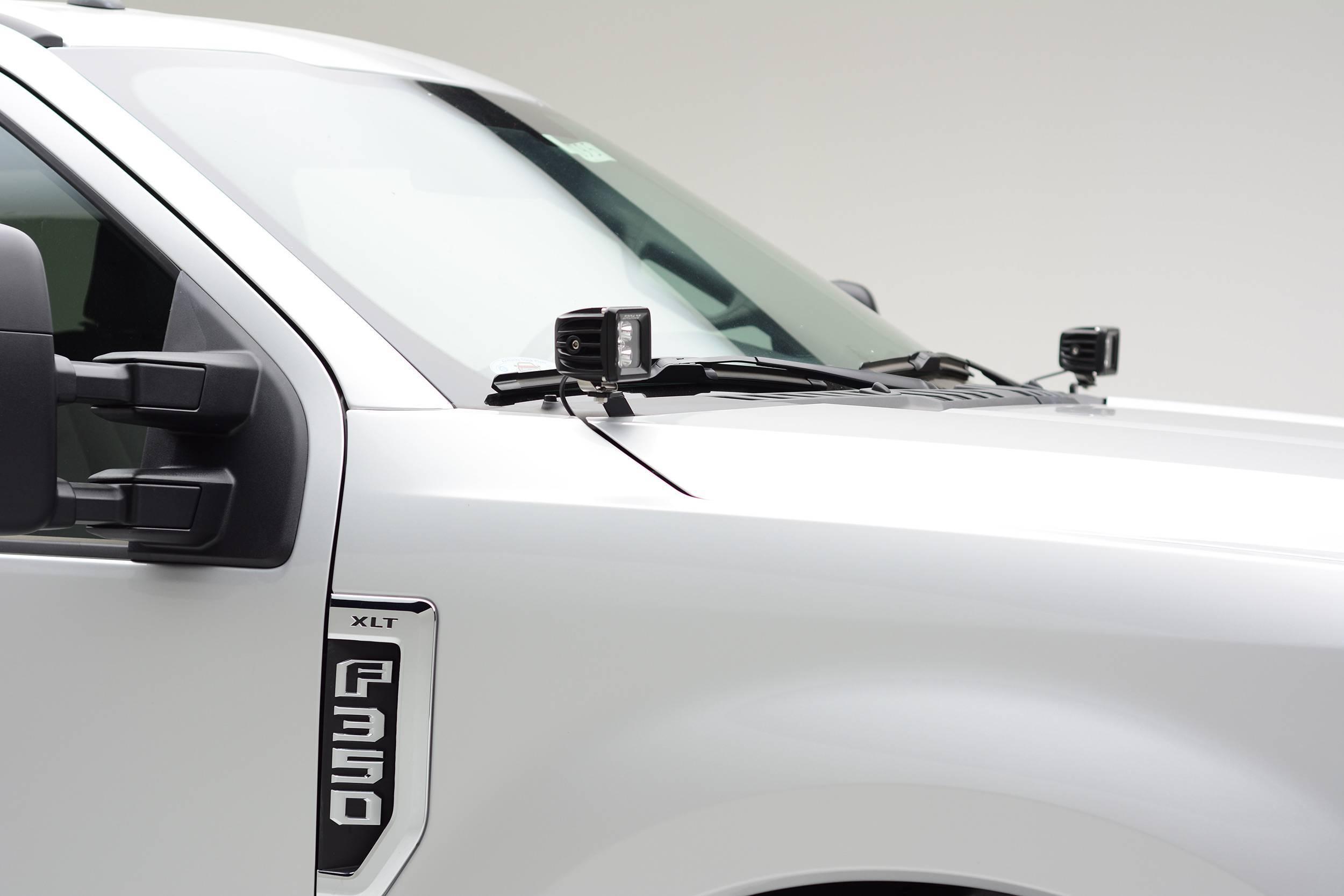 ZROADZ - 2017-2021 Ford Super Duty Hood Hinge LED Kit with (2) 3 Inch LED Pod Lights - PN #Z365471-KIT2