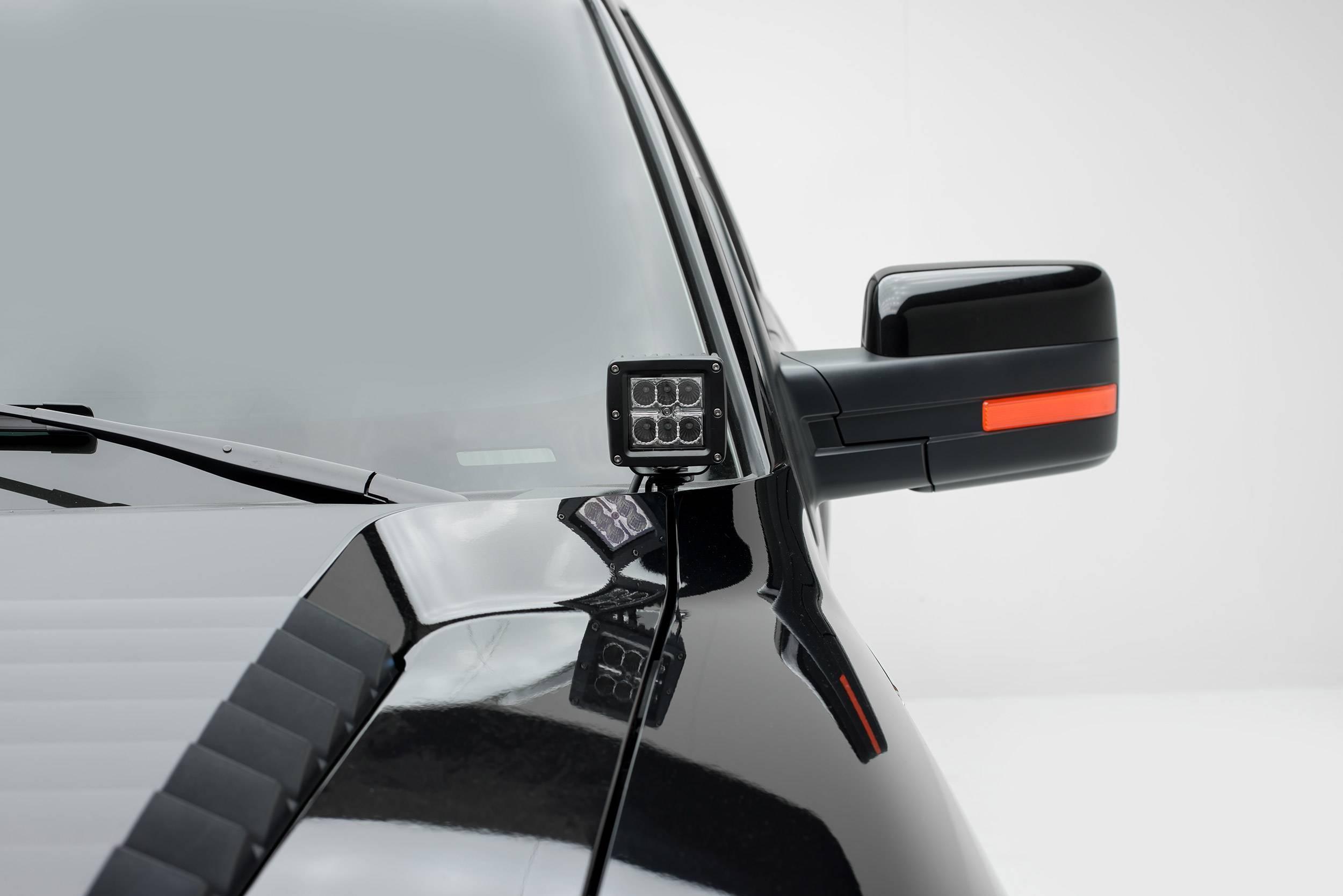 ZROADZ - Ford Hood Hinge LED Bracket to mount (2) 3 Inch LED Pod Lights - PN #Z365601