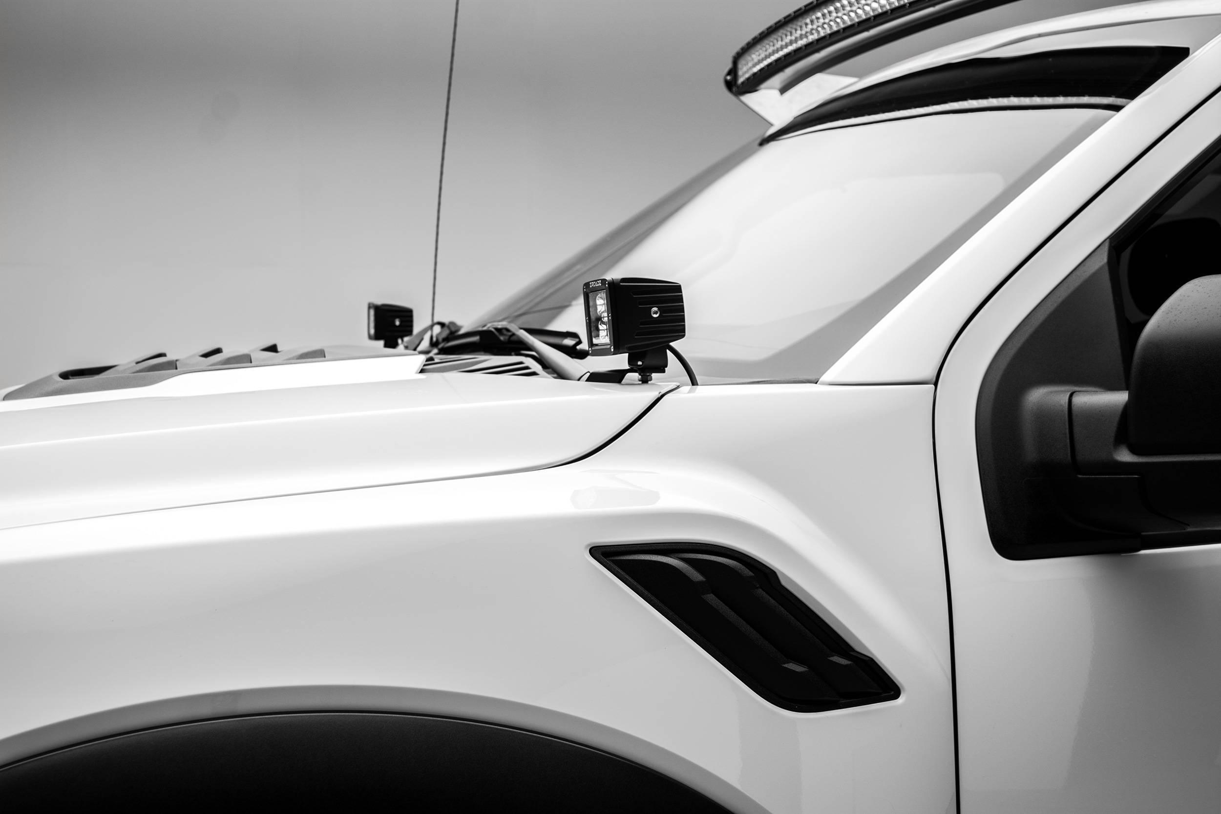 ZROADZ - 2017-2021 Ford F-150 Raptor Hood Hinge LED Bracket to mount (2) 3 Inch LED Pod Lights - PN #Z365701
