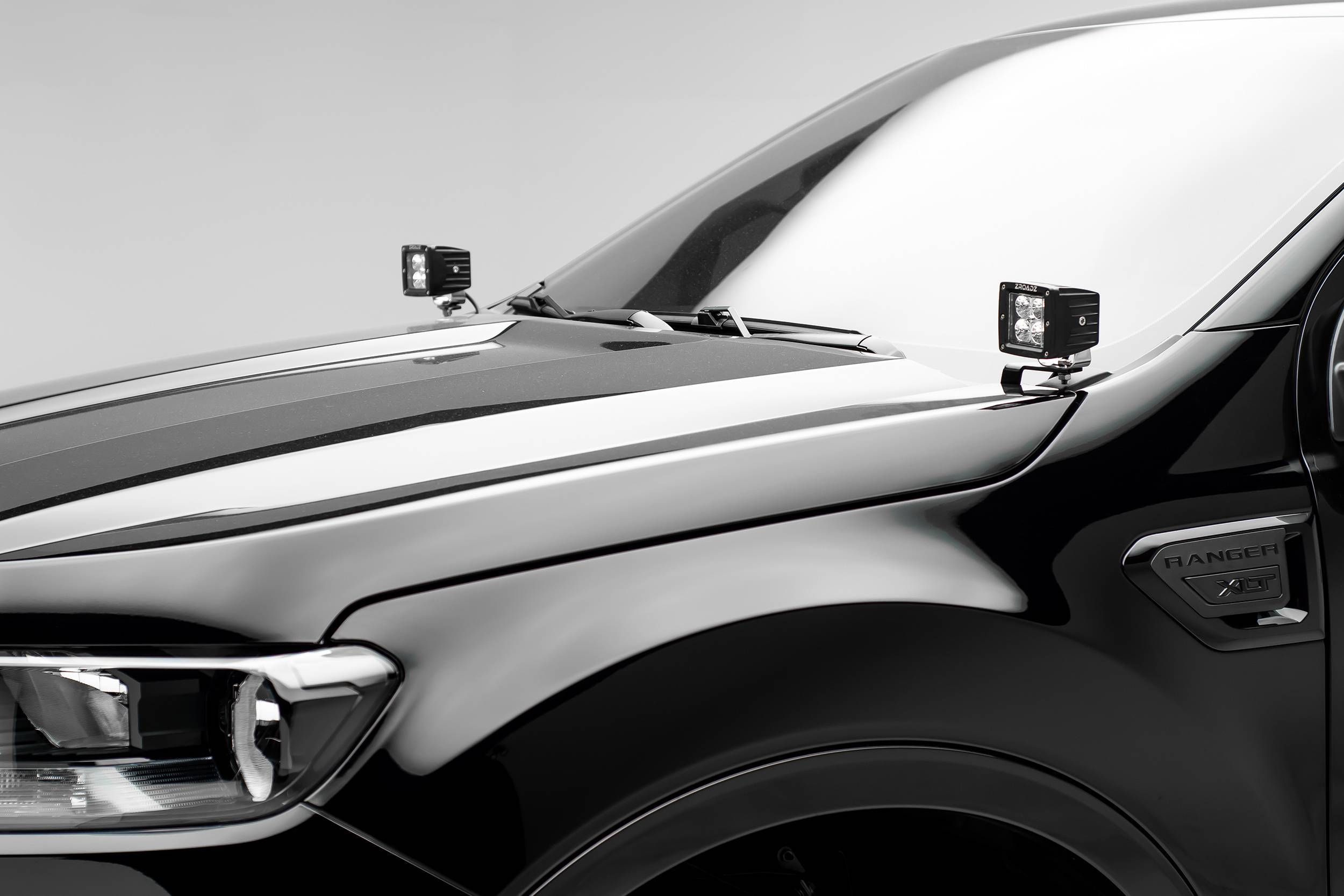 ZROADZ - 2019-2021 Ford Ranger Hood Hinge LED Kit with (2) 3 Inch LED Pod Lights - PN #Z365821-KIT2