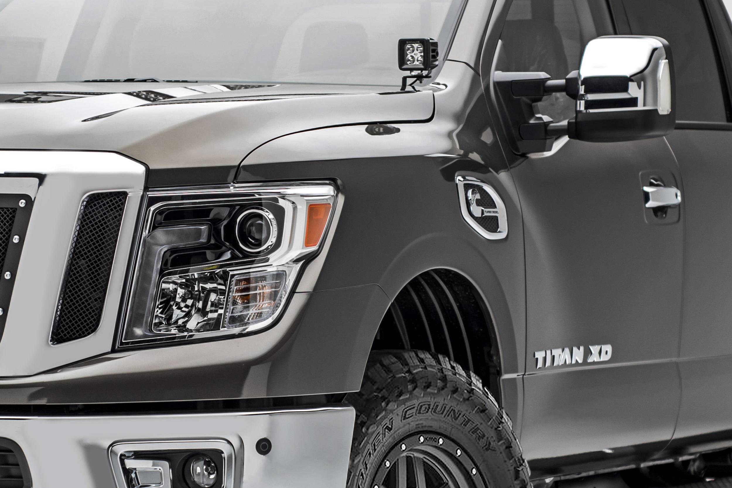 ZROADZ - 2016-2019 Nissan Titan Hood Hinge LED Bracket to mount (2) 3 Inch LED Pod Lights - PN #Z367581